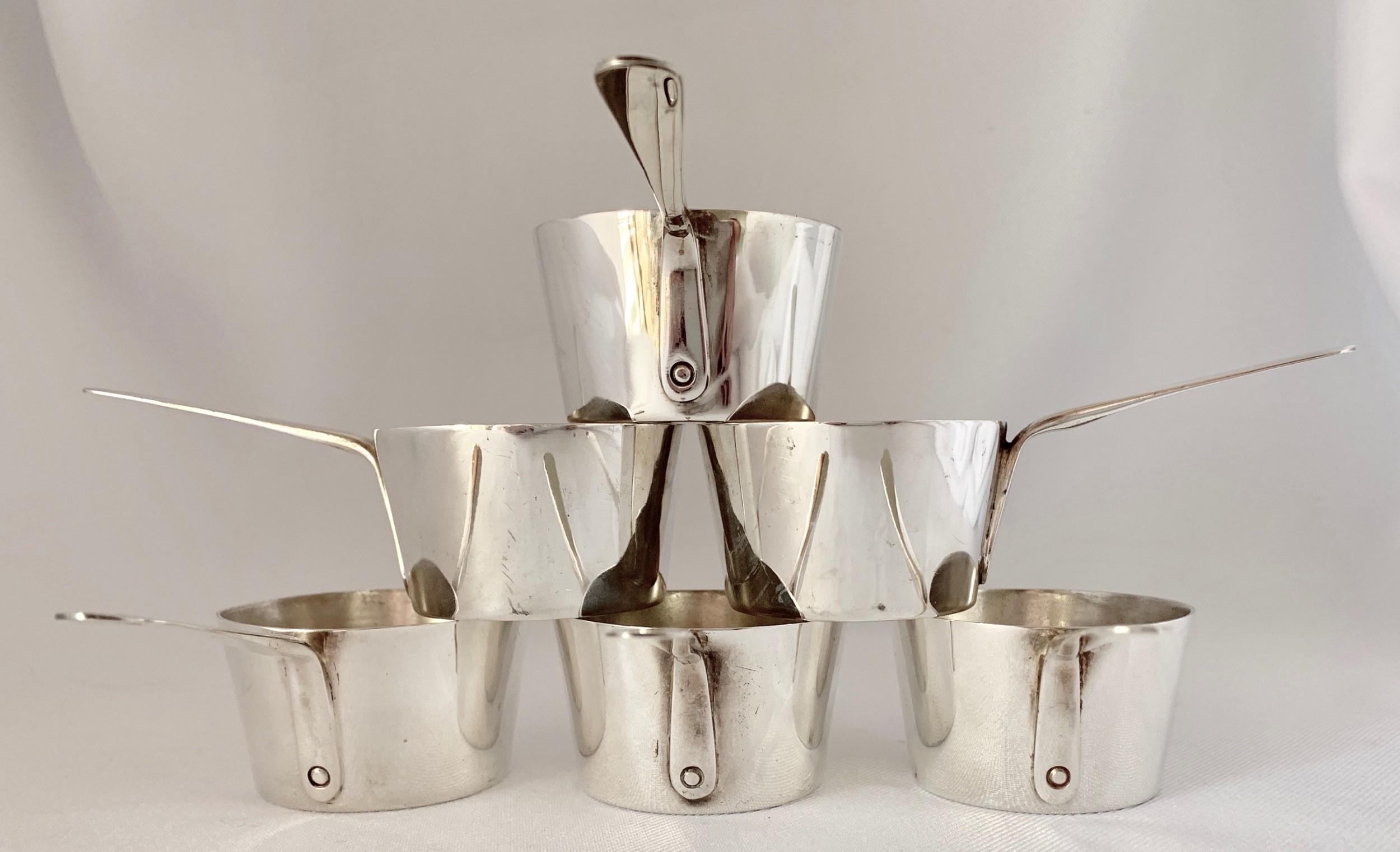 set six miniature silver plated pans