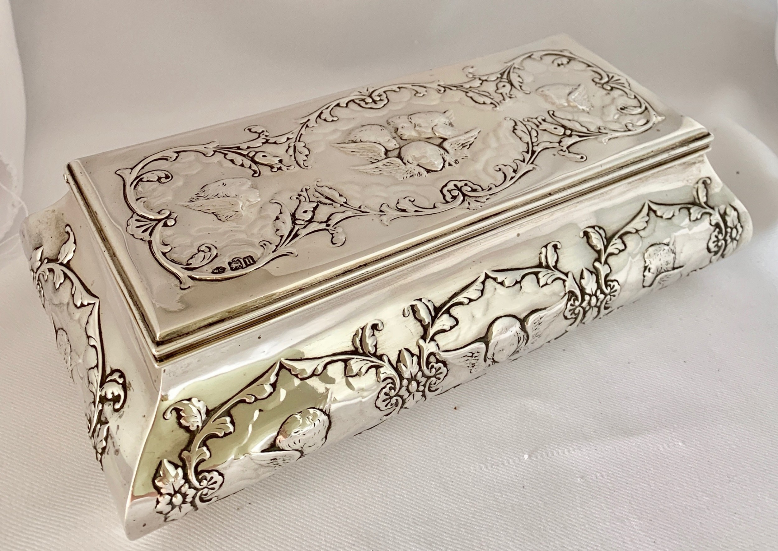 large sterling silver casket by william comyns