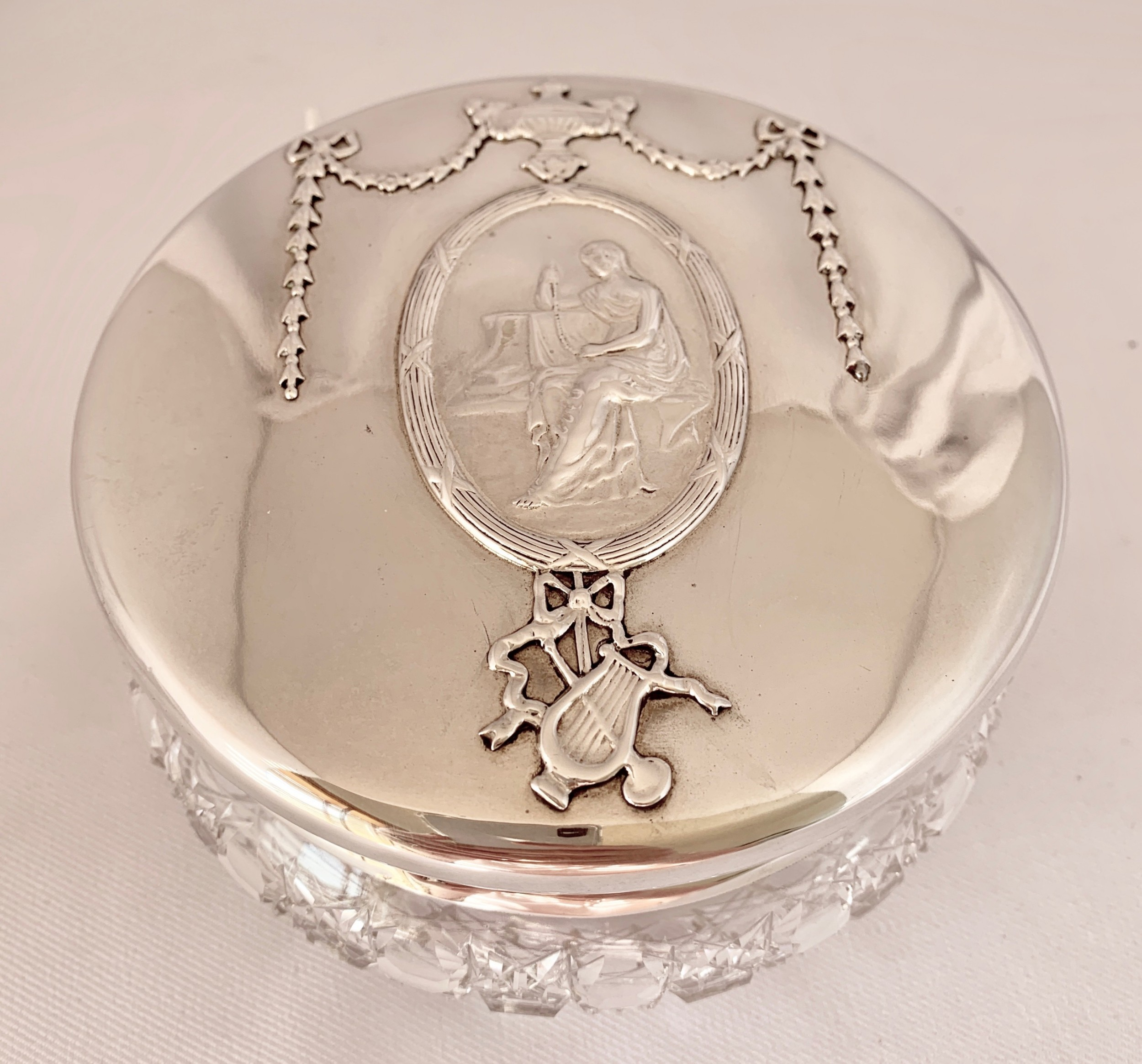 very attractive large silver mounted jar