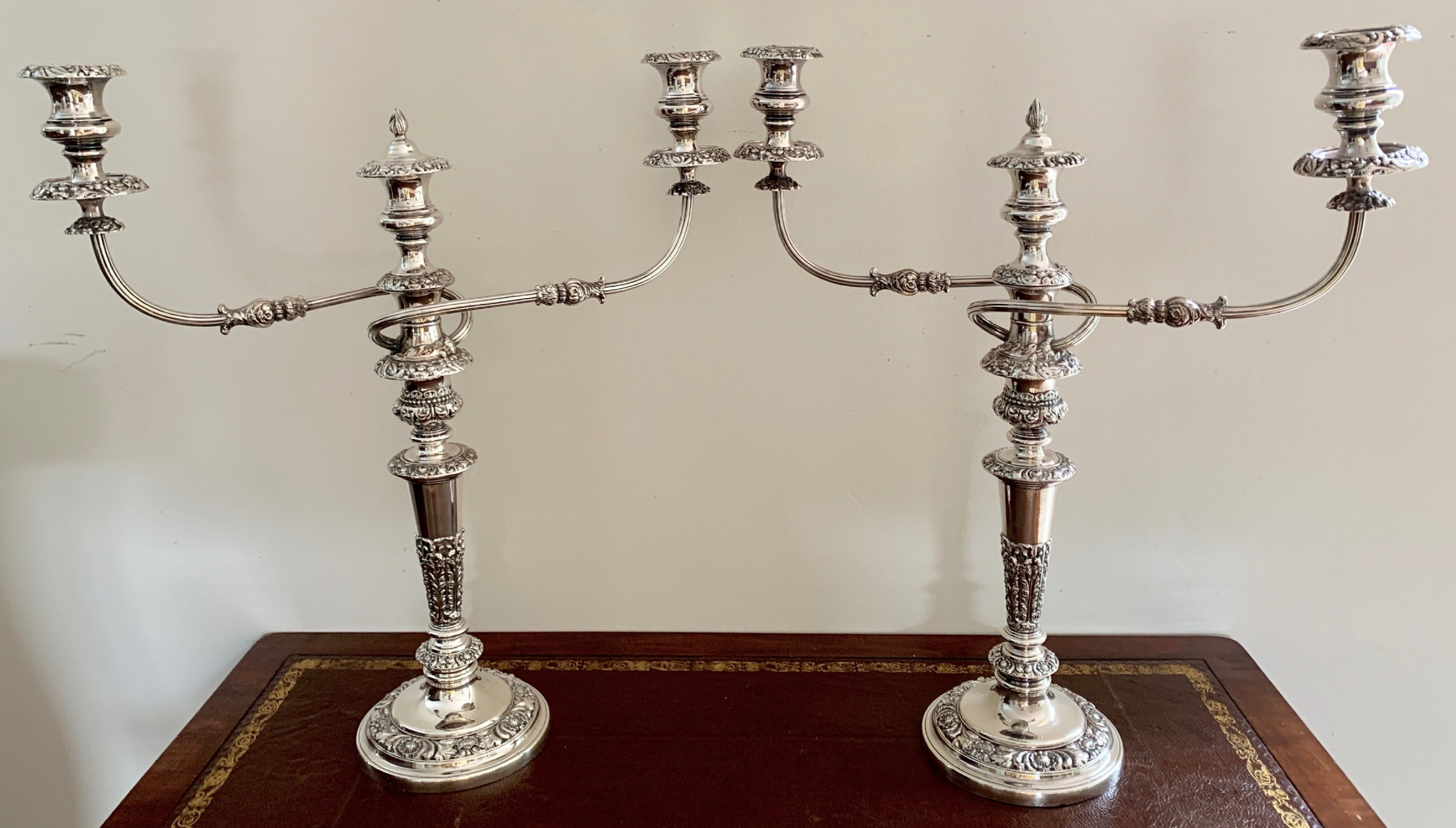 pair old sheffield plate candelabra