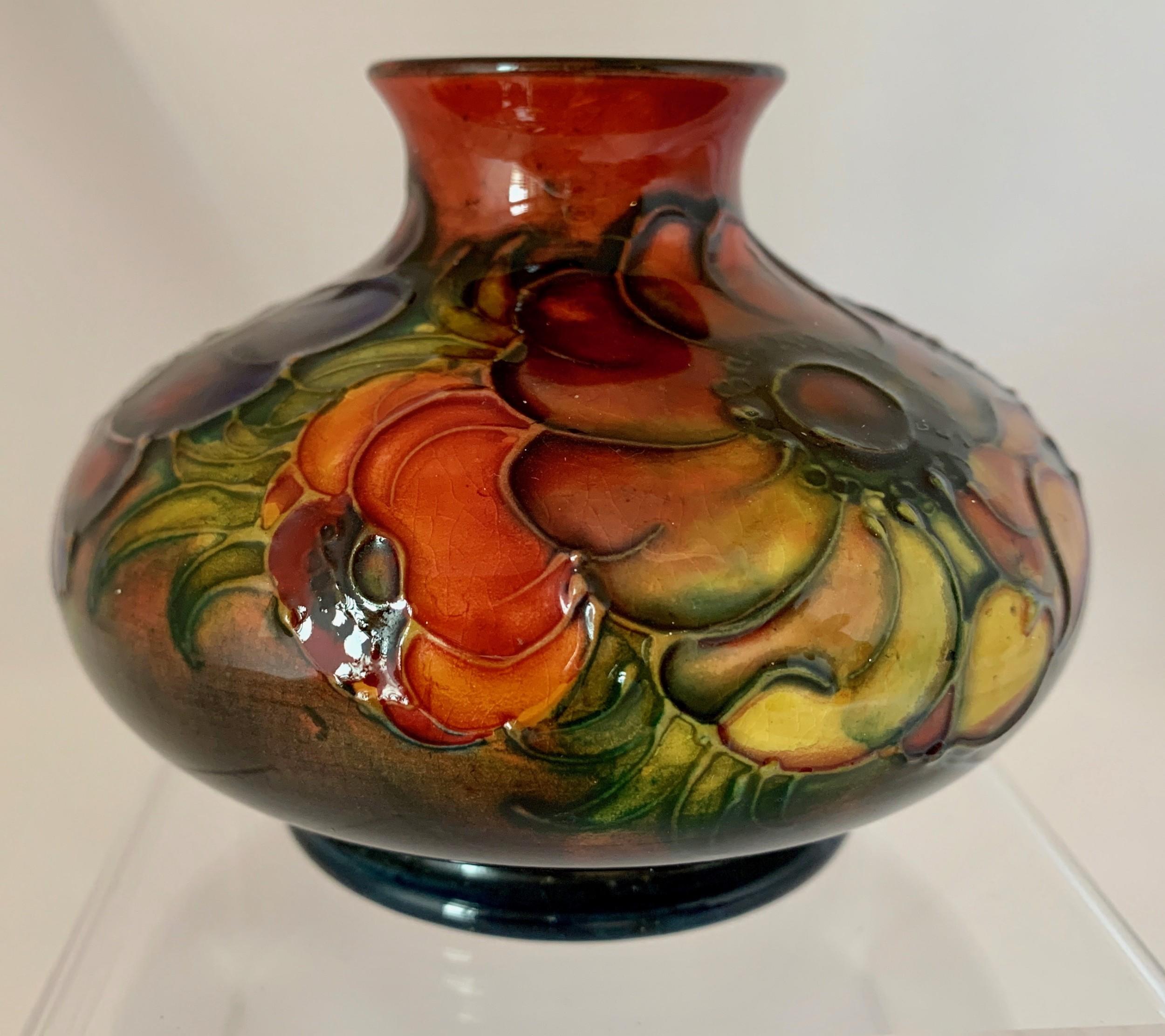 walter moorcroft anemone flame glaze vase