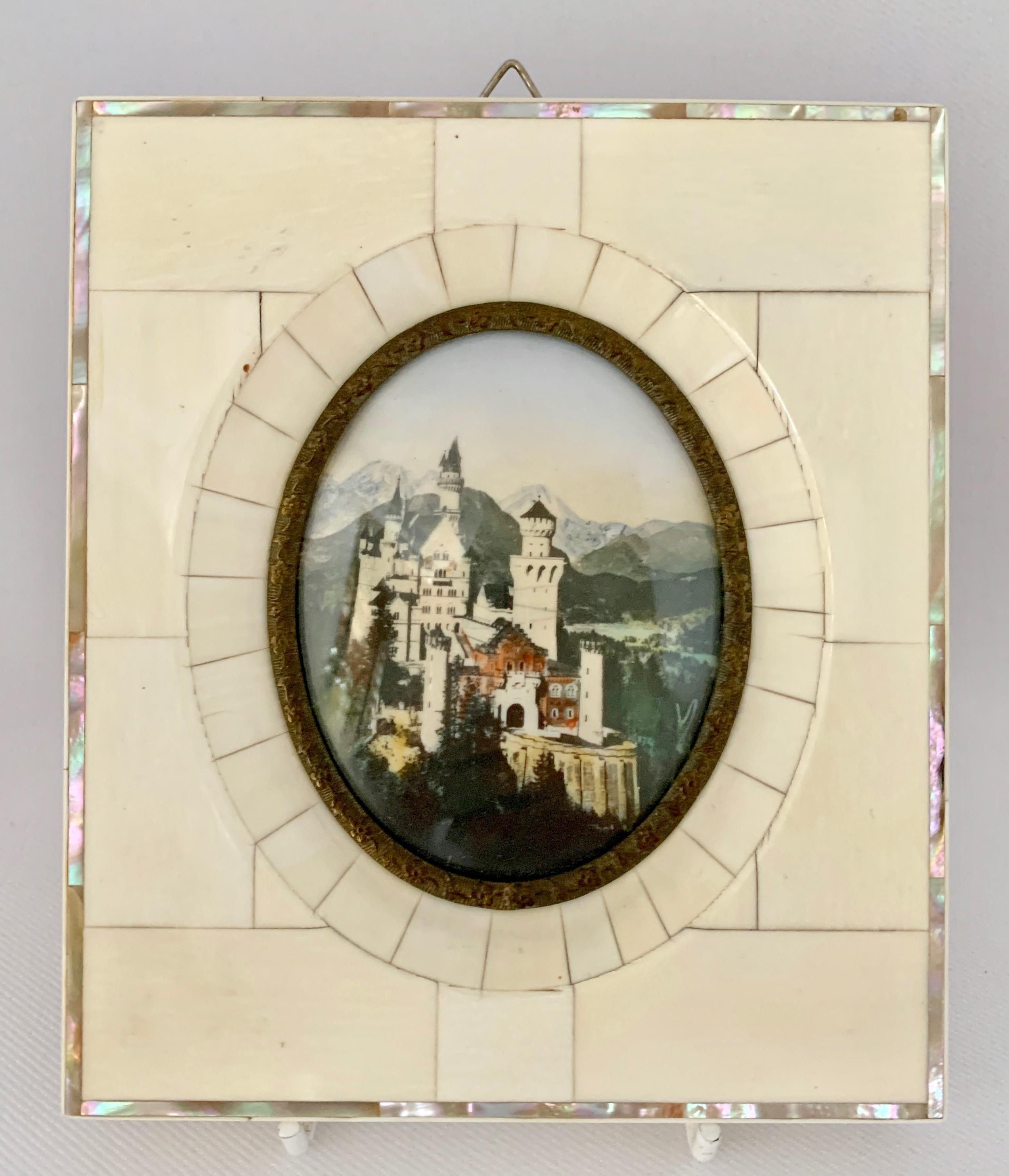 miniature painting of neuschwanstein castle c1920