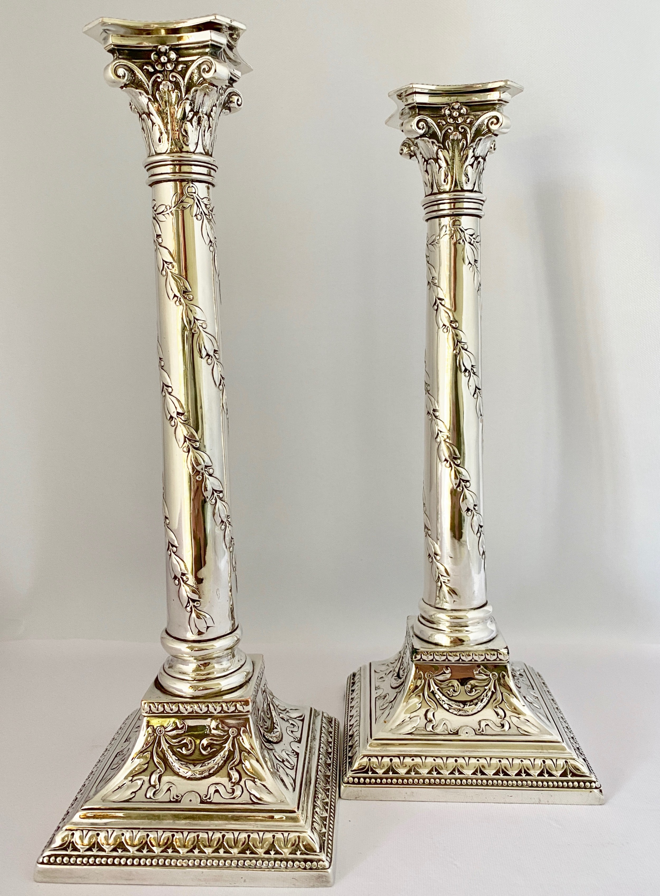 handsome pair of silver plated candlesticks c1900