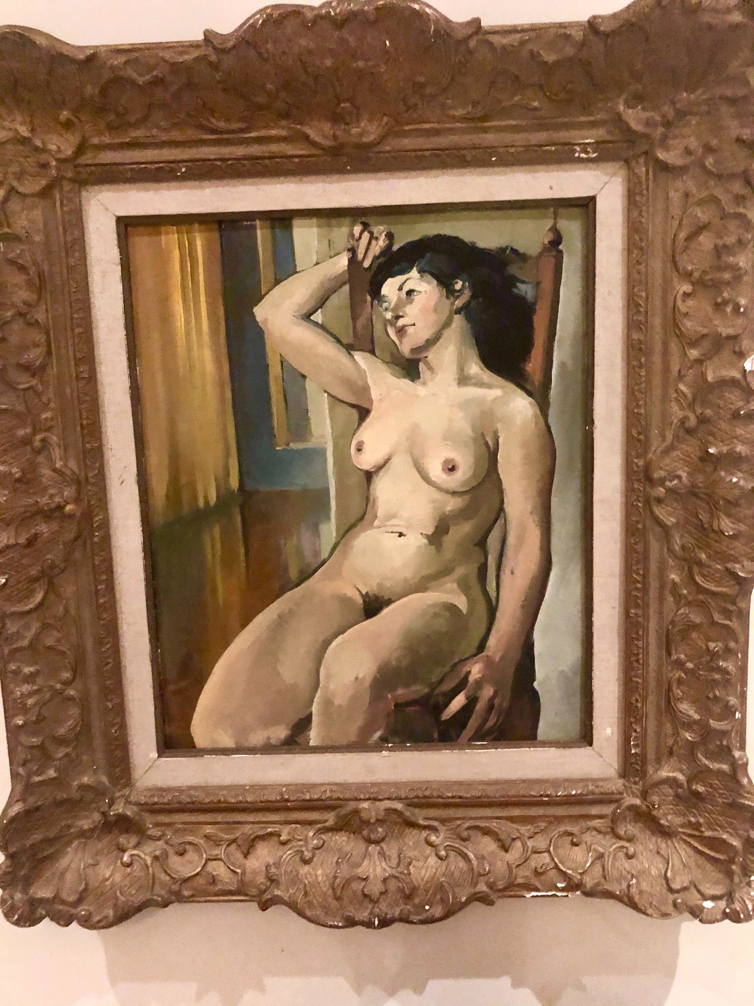 seated french nude oil painting on canvas