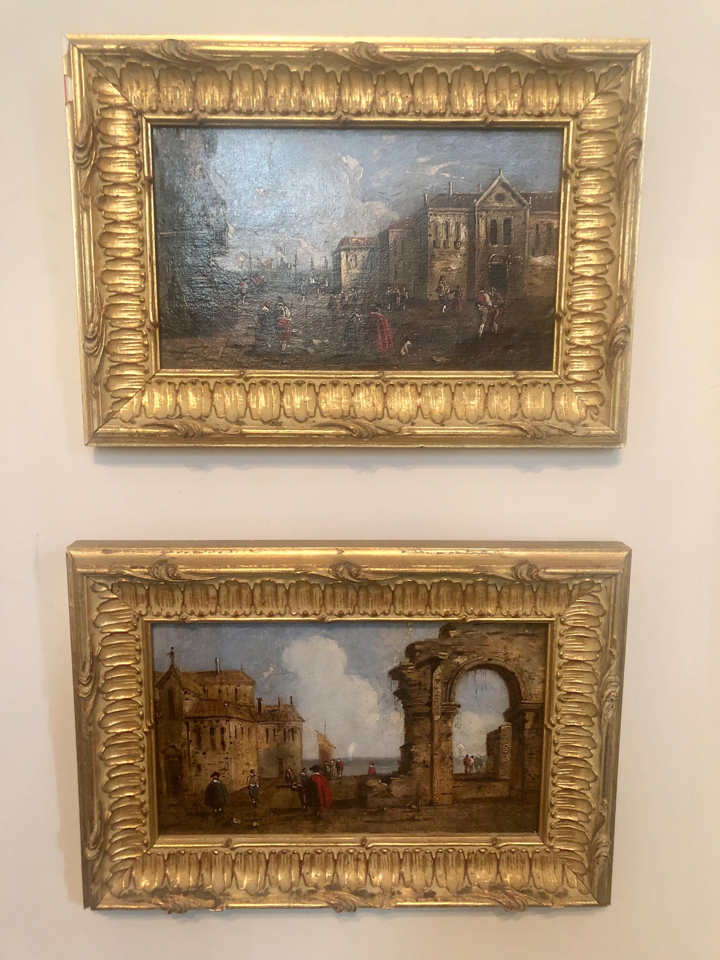 pair of capriciccos of venice oil paintings on canvas in the manner of francesco guardi early 19th c