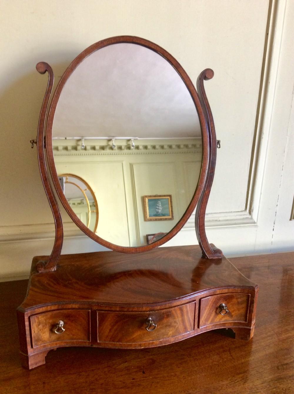 georgian serpentine toilet or dressing table mirror
