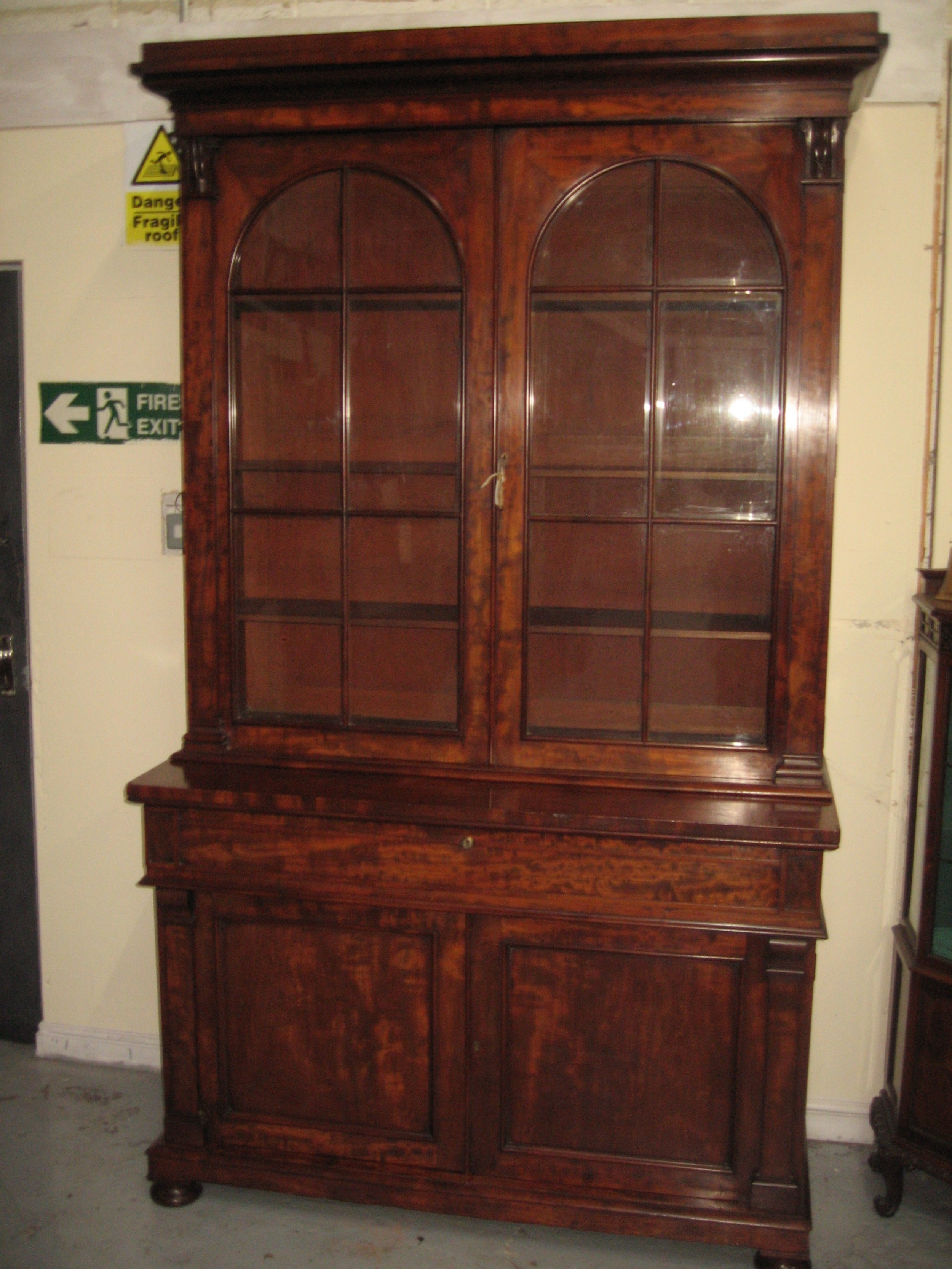 large 19th century mahogany cupboard bookcase