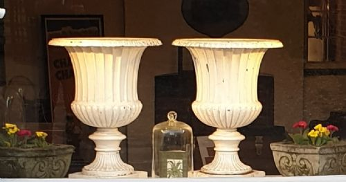 pair of large 19th century cast iron urns attributed to andrew handyside co of derby