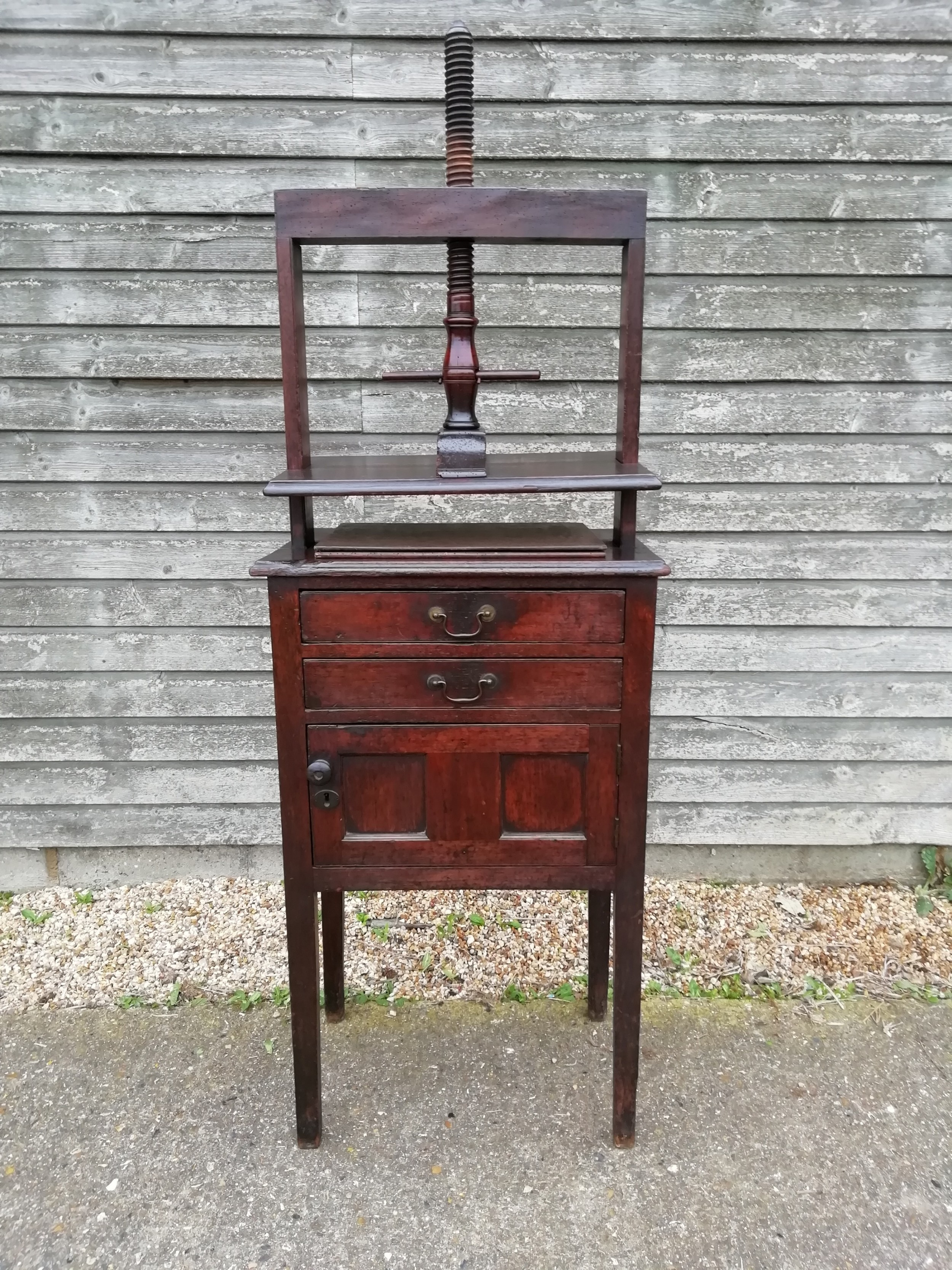 two drawer cupboard with original linen press c1800