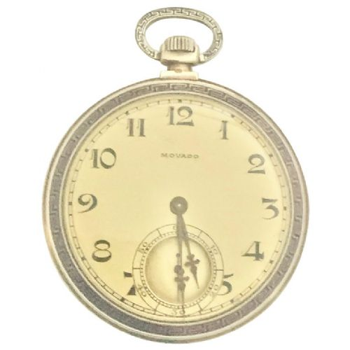 a superb 14k yellow gold enamel art deco pocket watch by movado