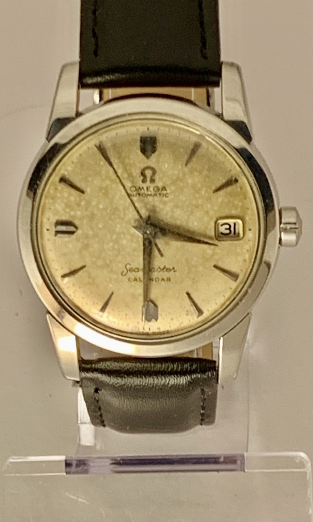 vintage omega seamaster automatic calendar cal503 steel 1956 gents watch