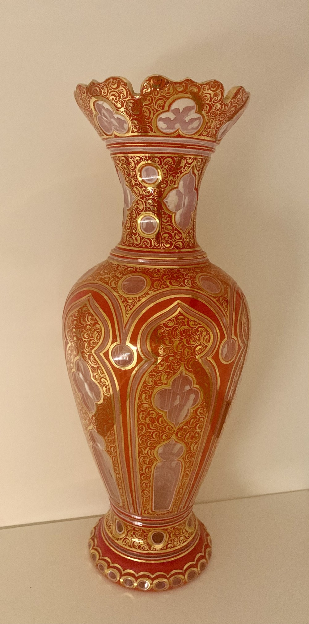 a huge 515cm bohemian persian market paleruby and white overlay vase antique