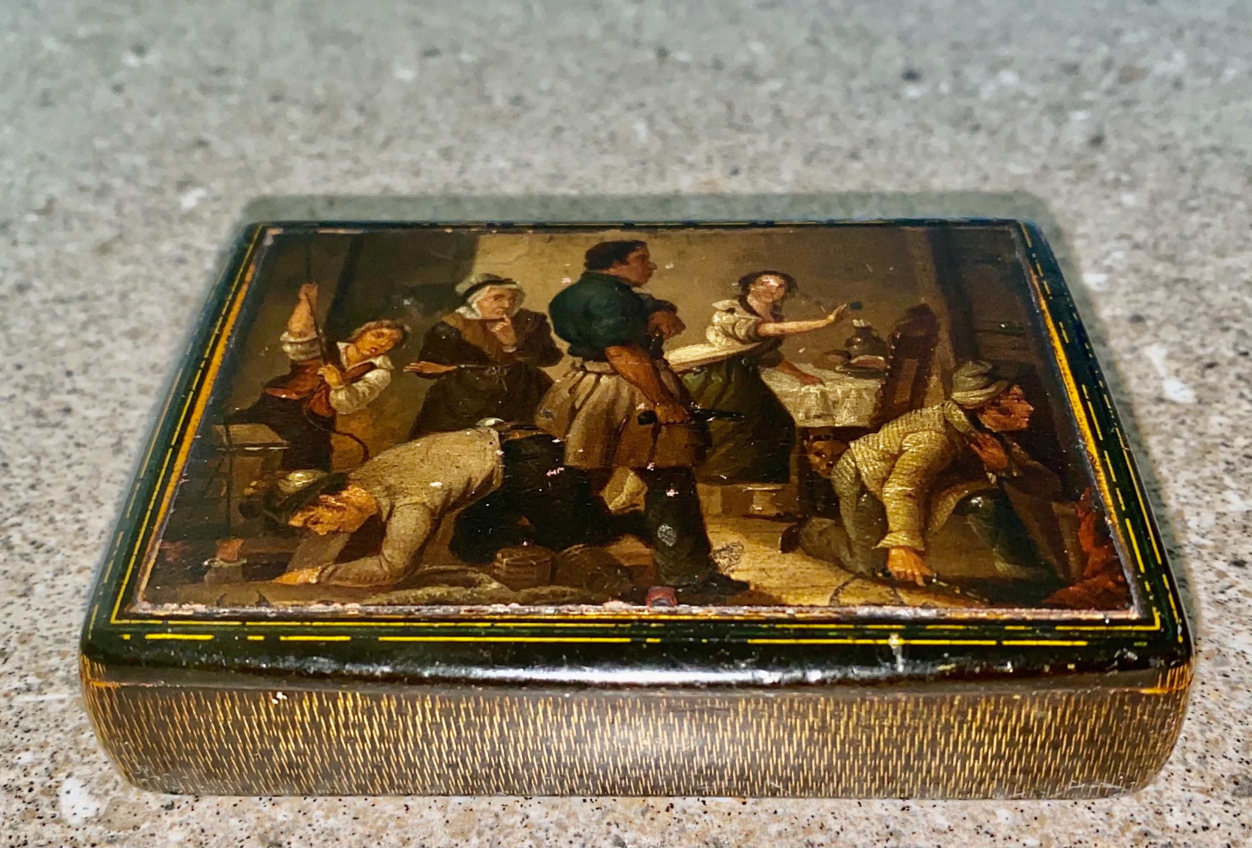 early 19th century large hand painted stobwasser type papier mache table snuff box c1820
