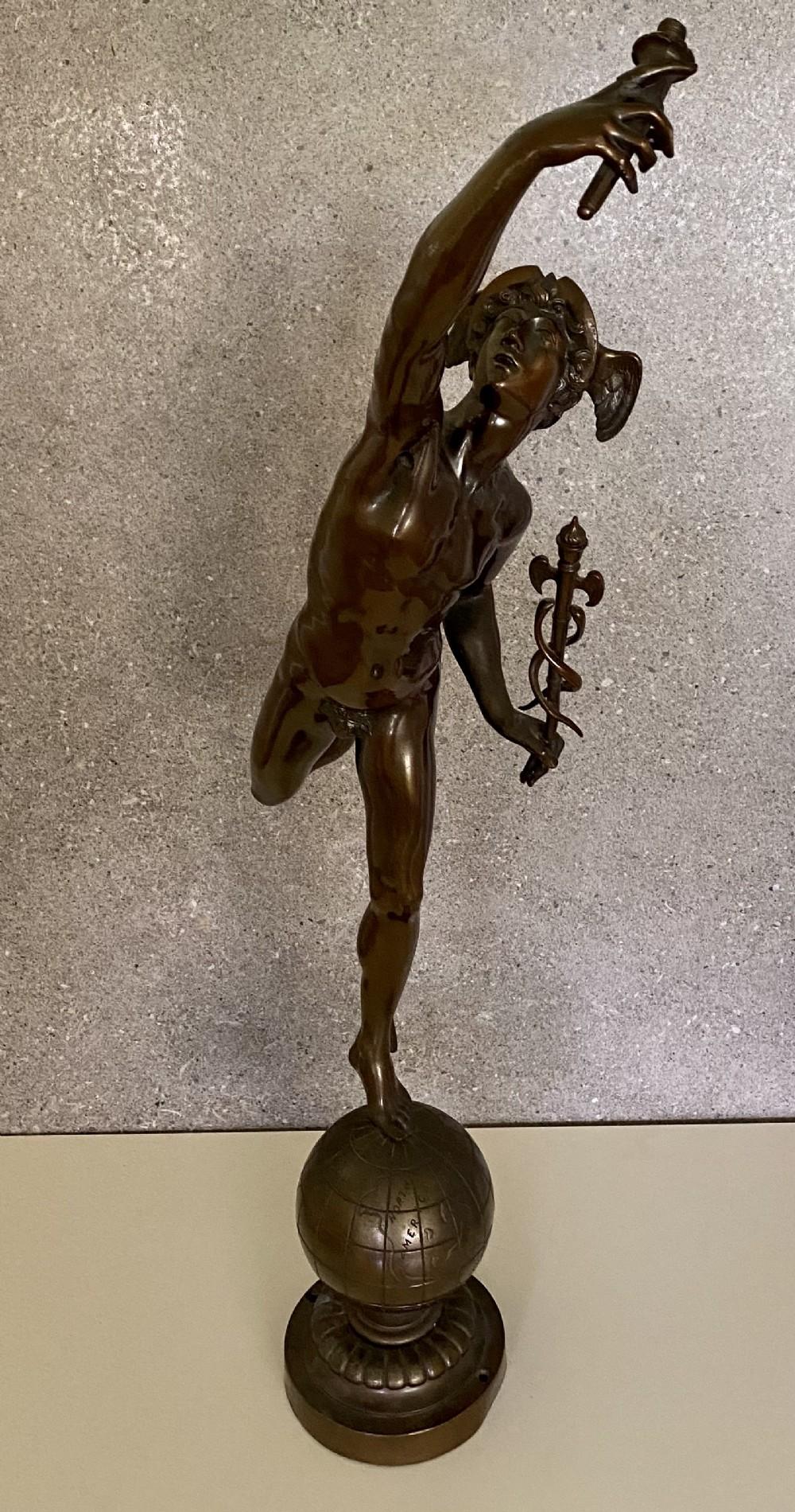 large 19thc bronze sculpture of hermes