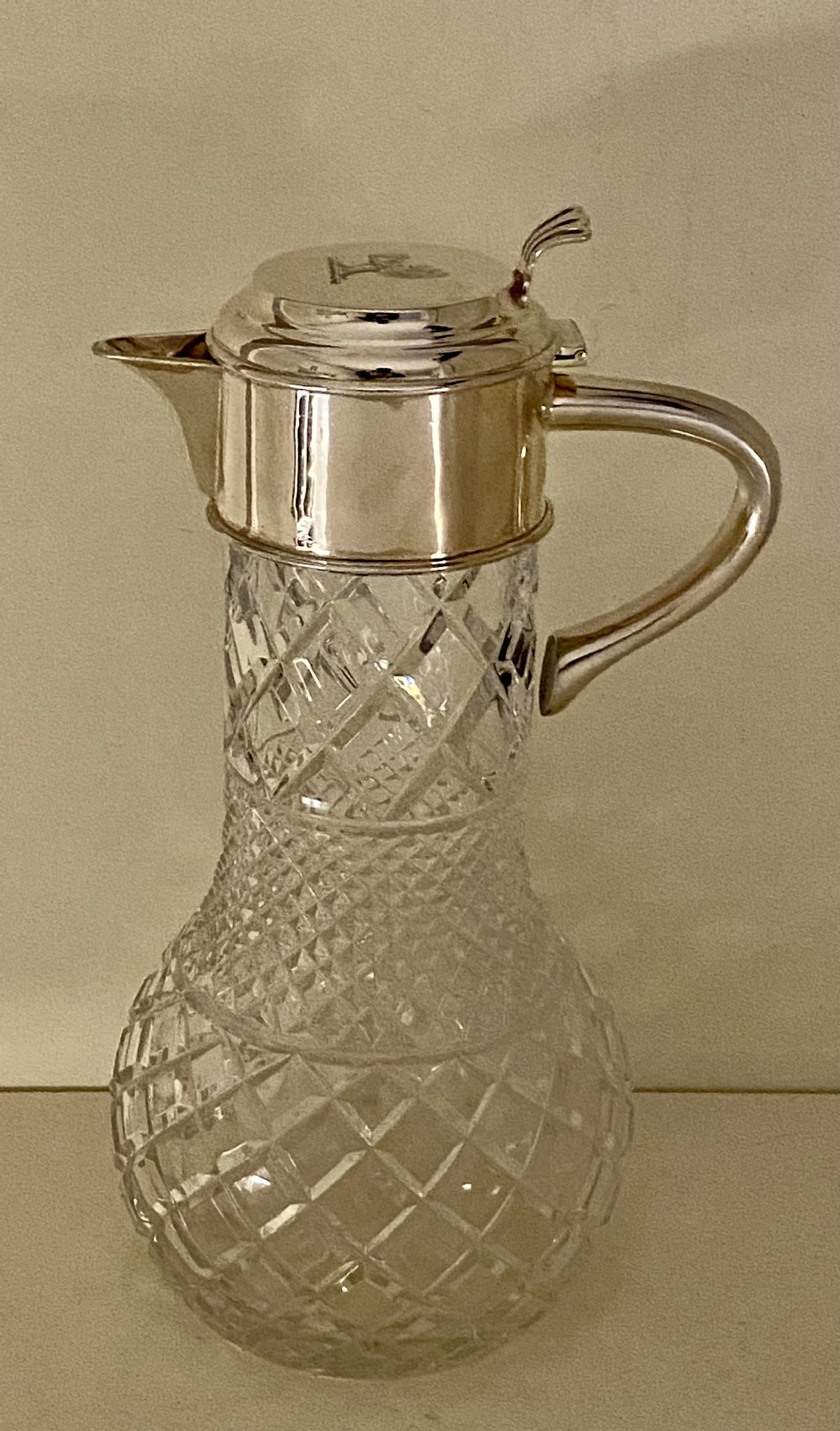 antique victorian sterling silver and cut crystal glass claret jug hm 1899