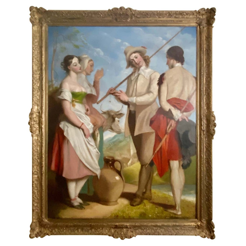 a huge early 19th century oil on canvas painting