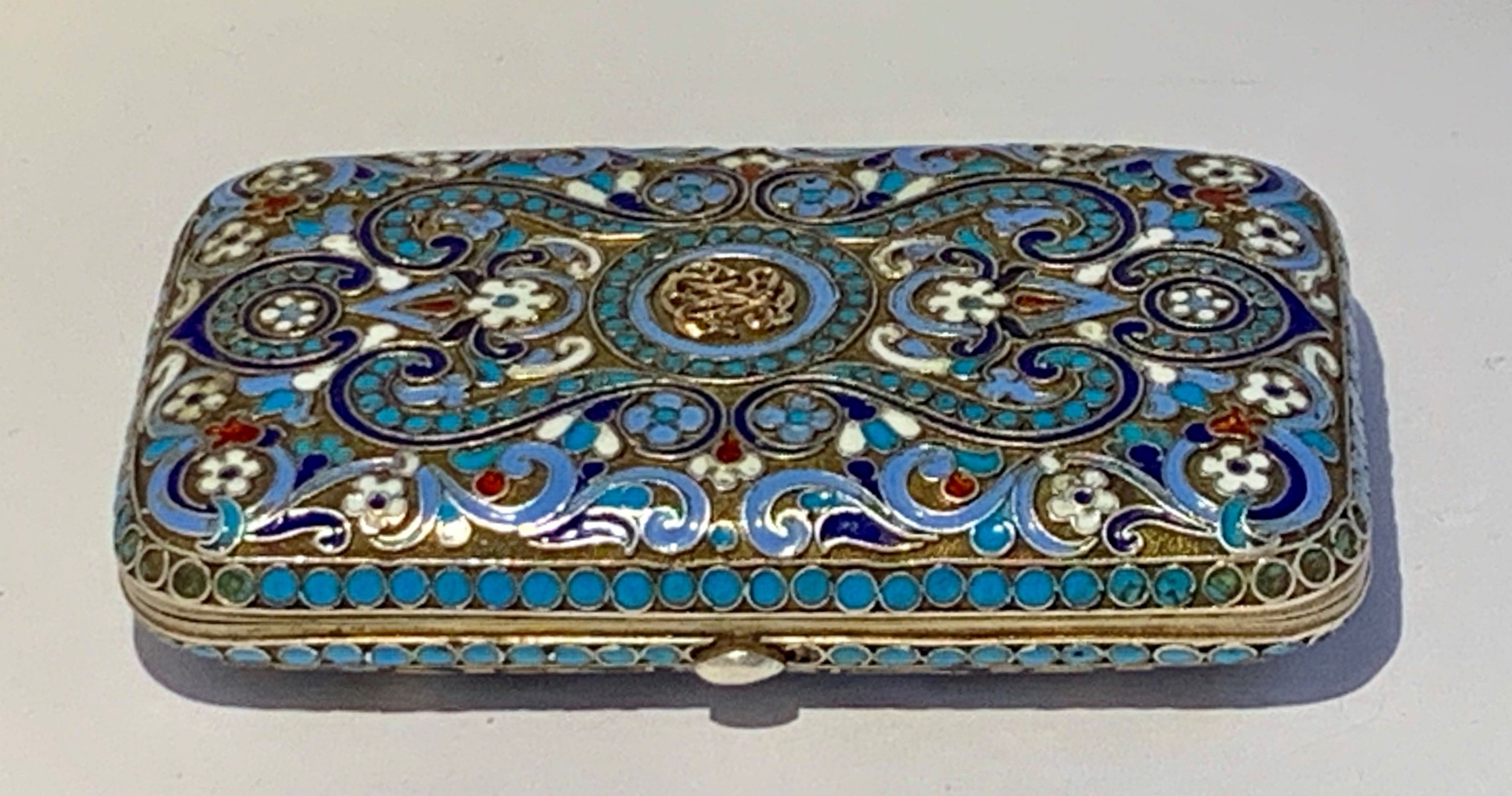a russian silvergilt and cloisonne enamel box
