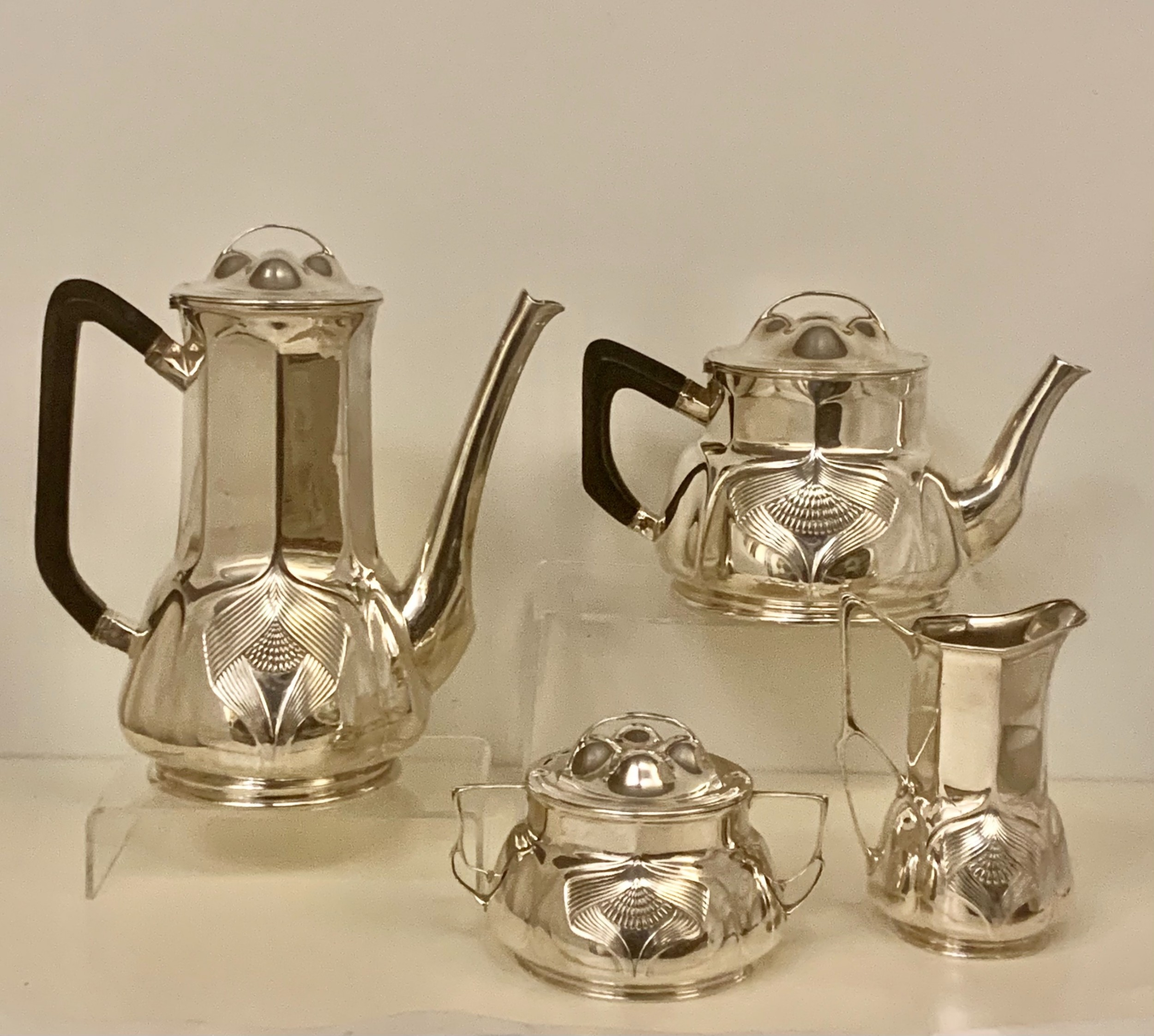 rare superb orivit sterling silver art nouveau coffee and tea service cologne germany