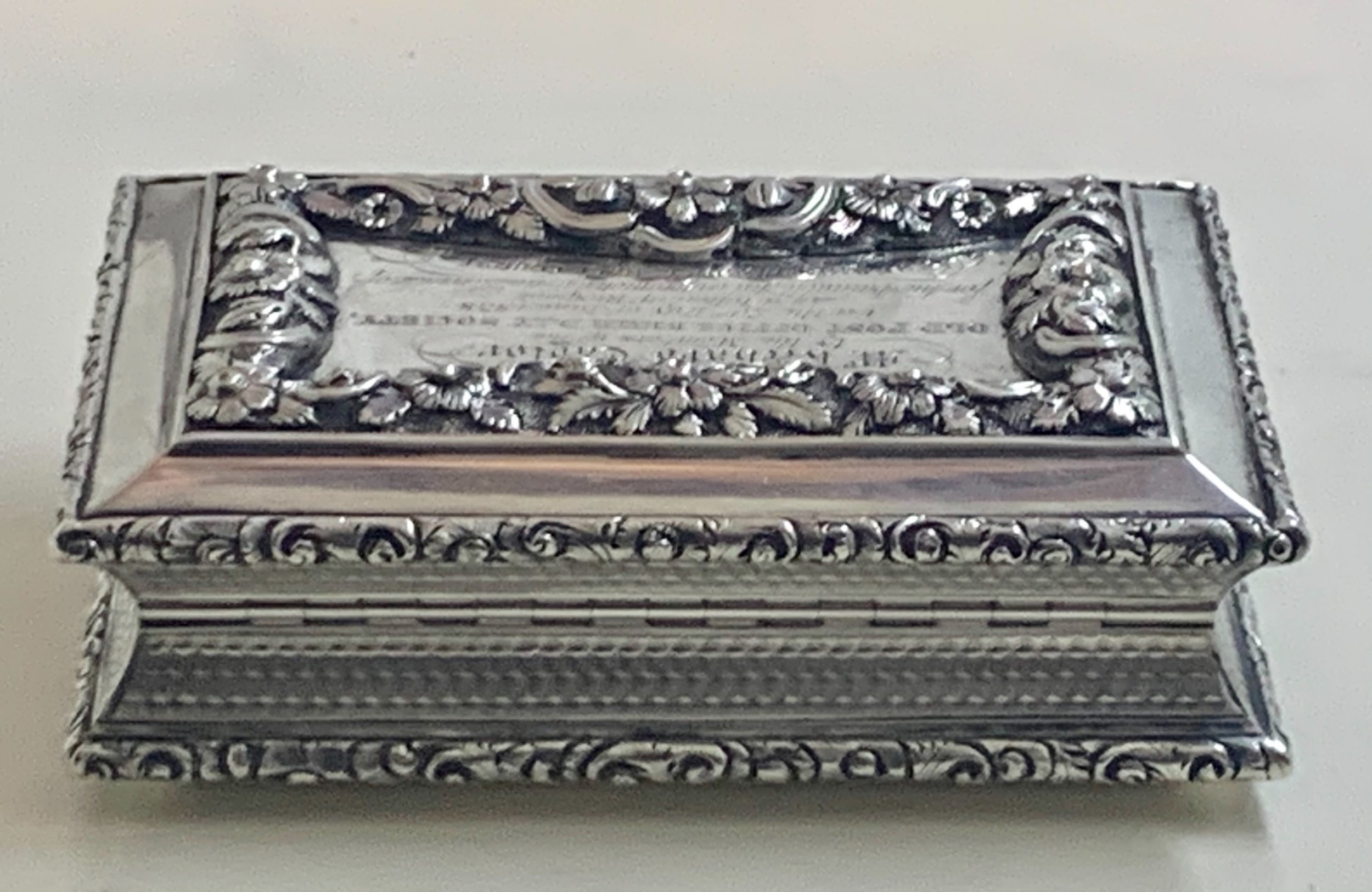 georgian solid sterling silver table snuff box
