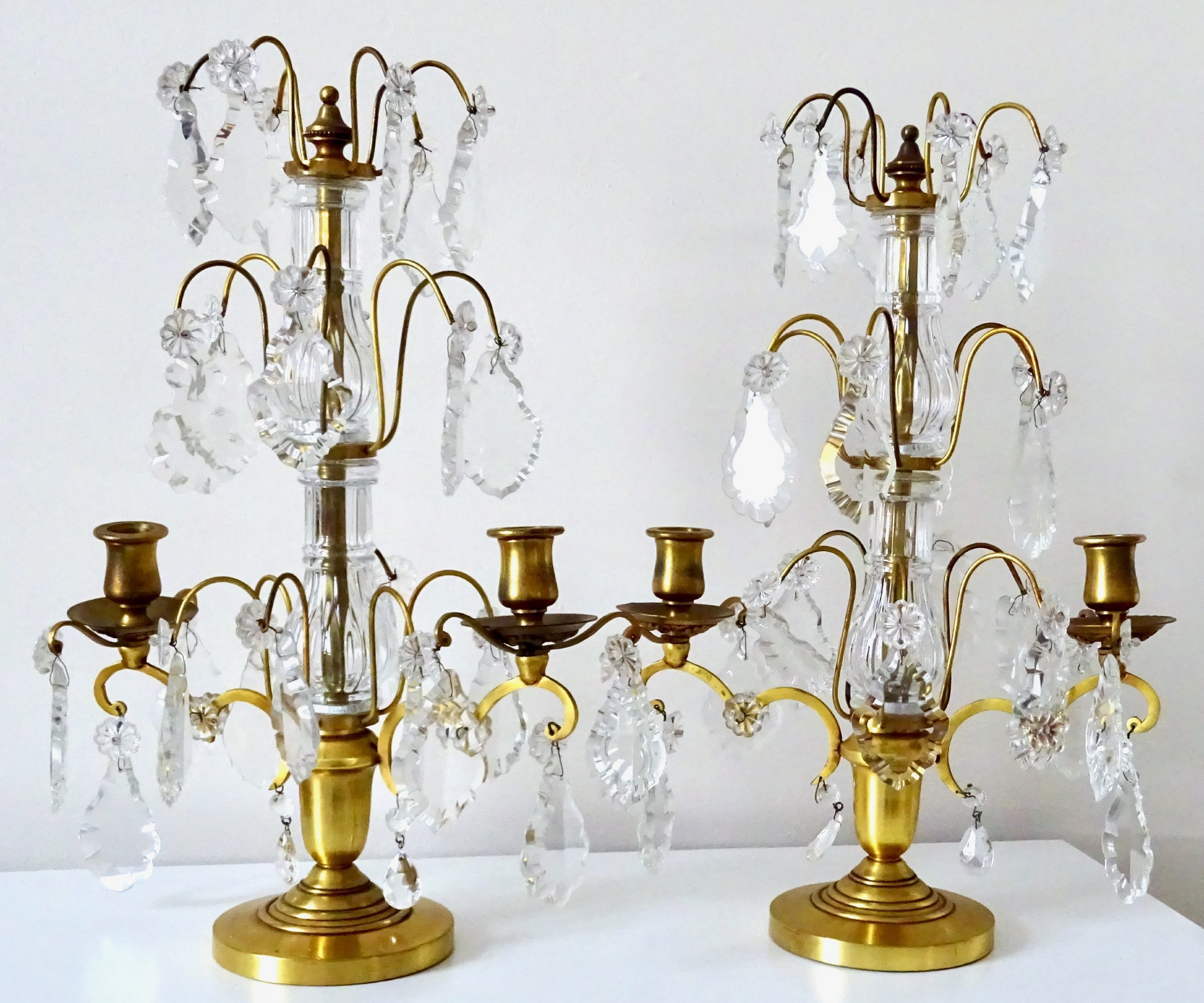 pair of candlesticks with glass drops
