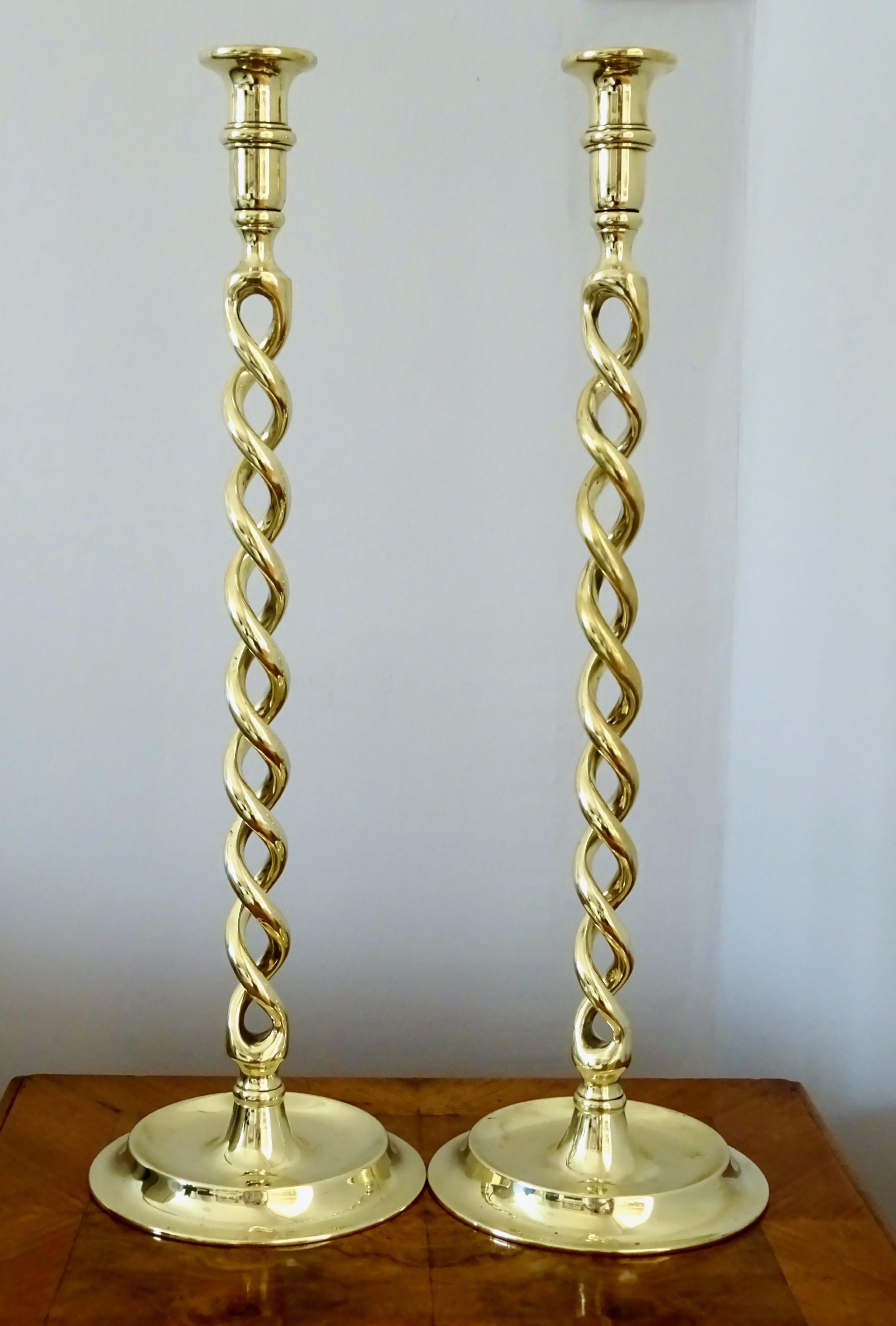 exceptionally tall brass candlesticks