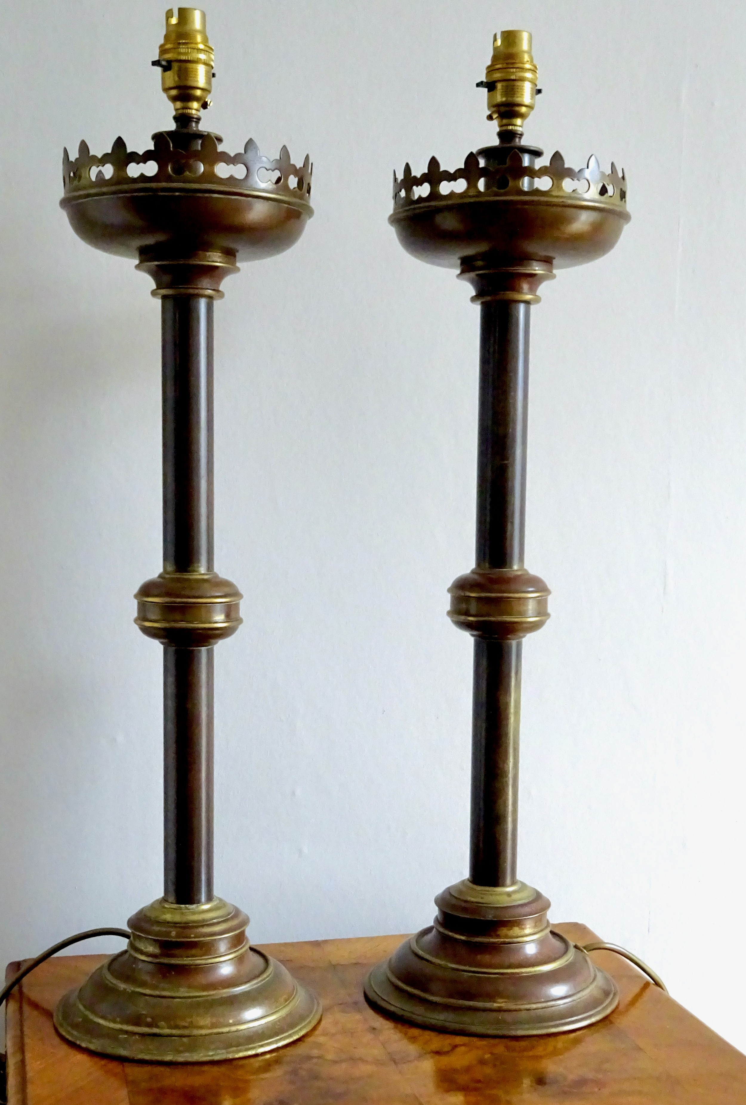 pair very tall brass table lamps