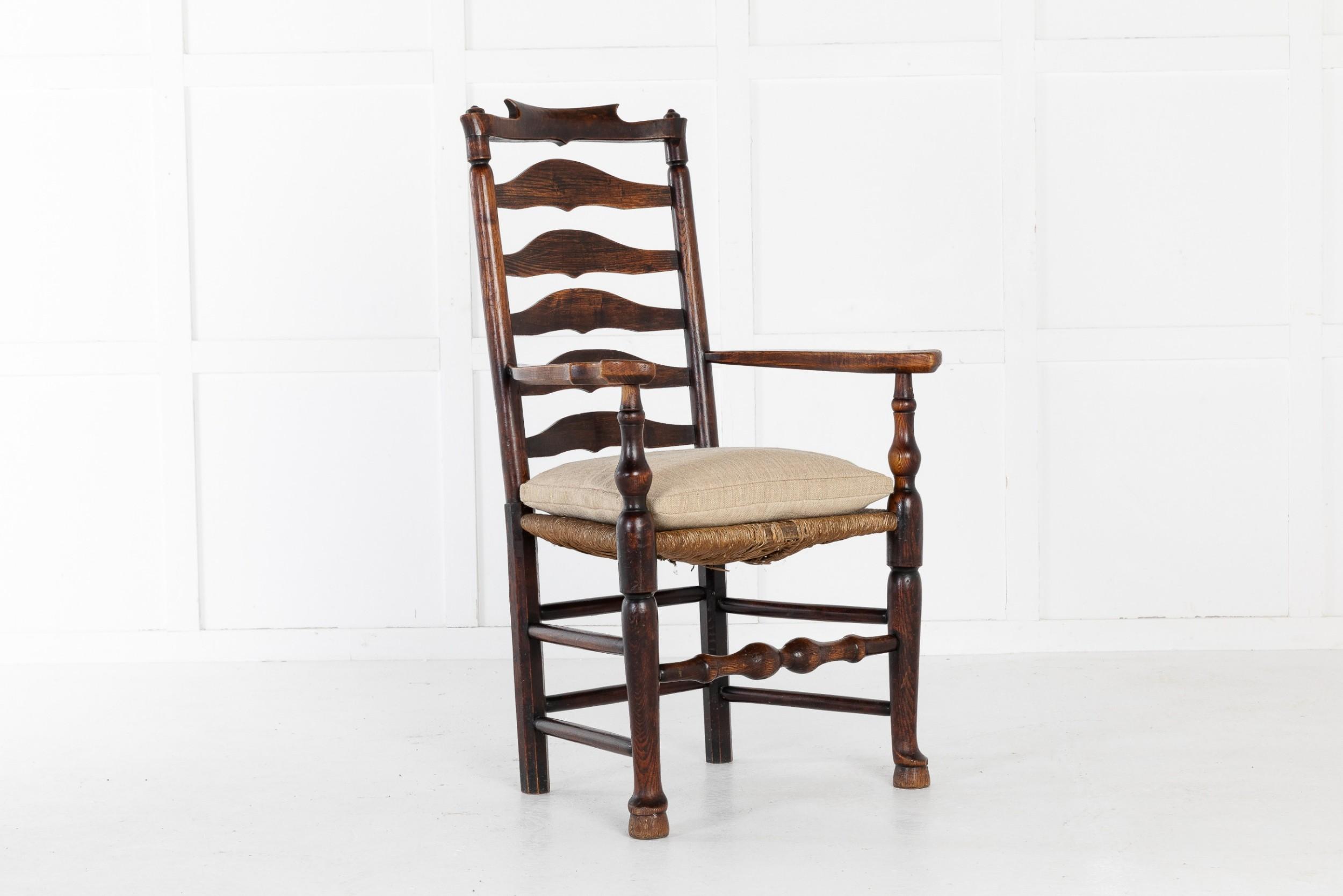 18th century english elm ladderback carver chair