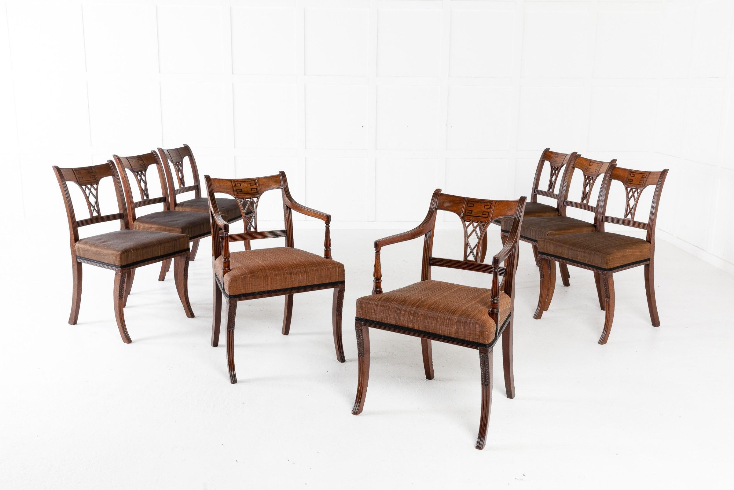 set of eight 19th century regency mahogany dining chairs
