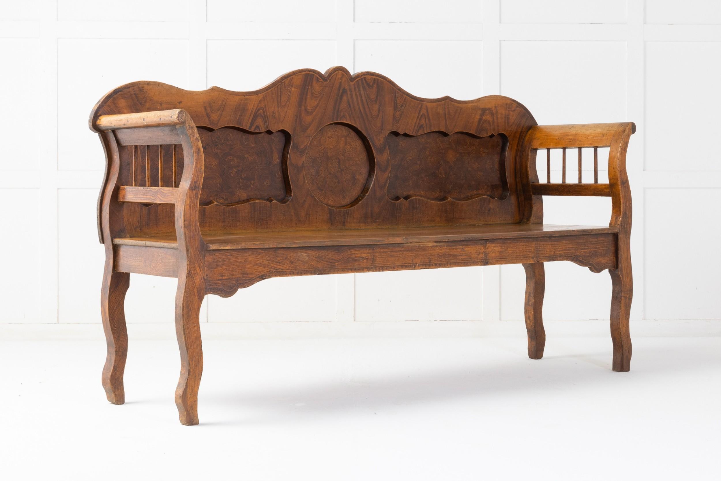 19th century scandinavian painted bench