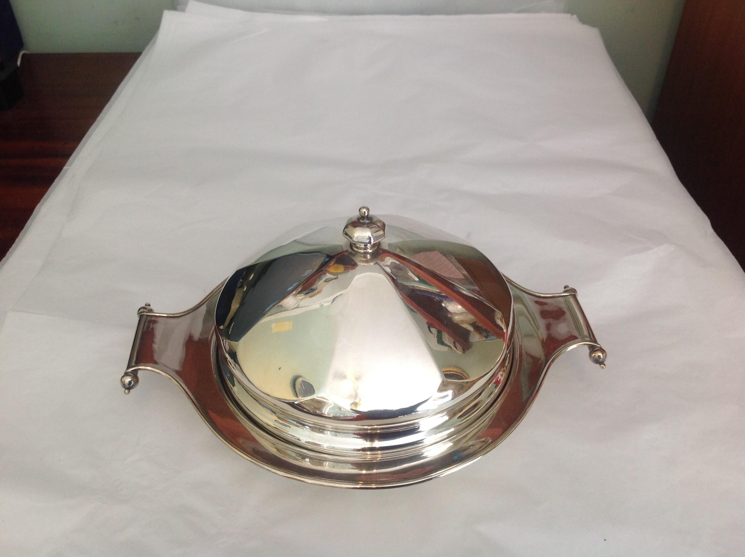 silver plated muffin warmer dish