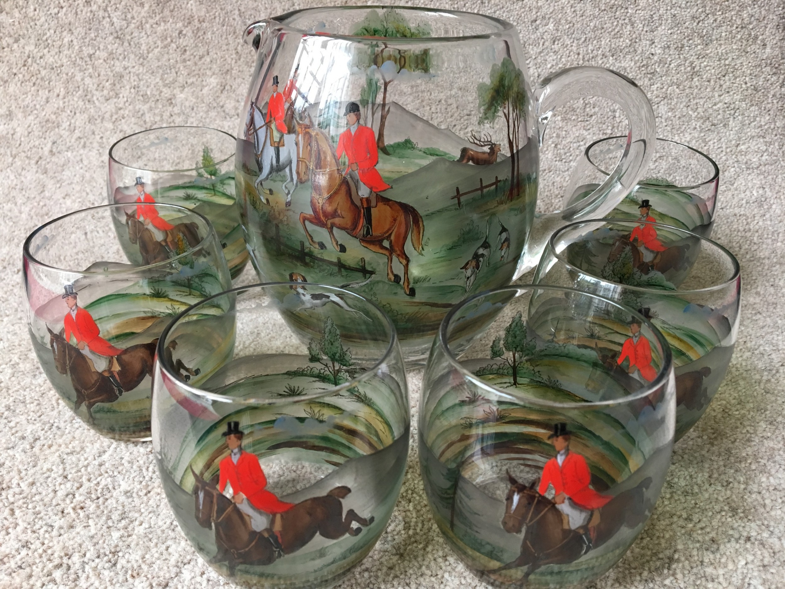 hunting horse riding painted glass jug and six glasses attributed to asprey