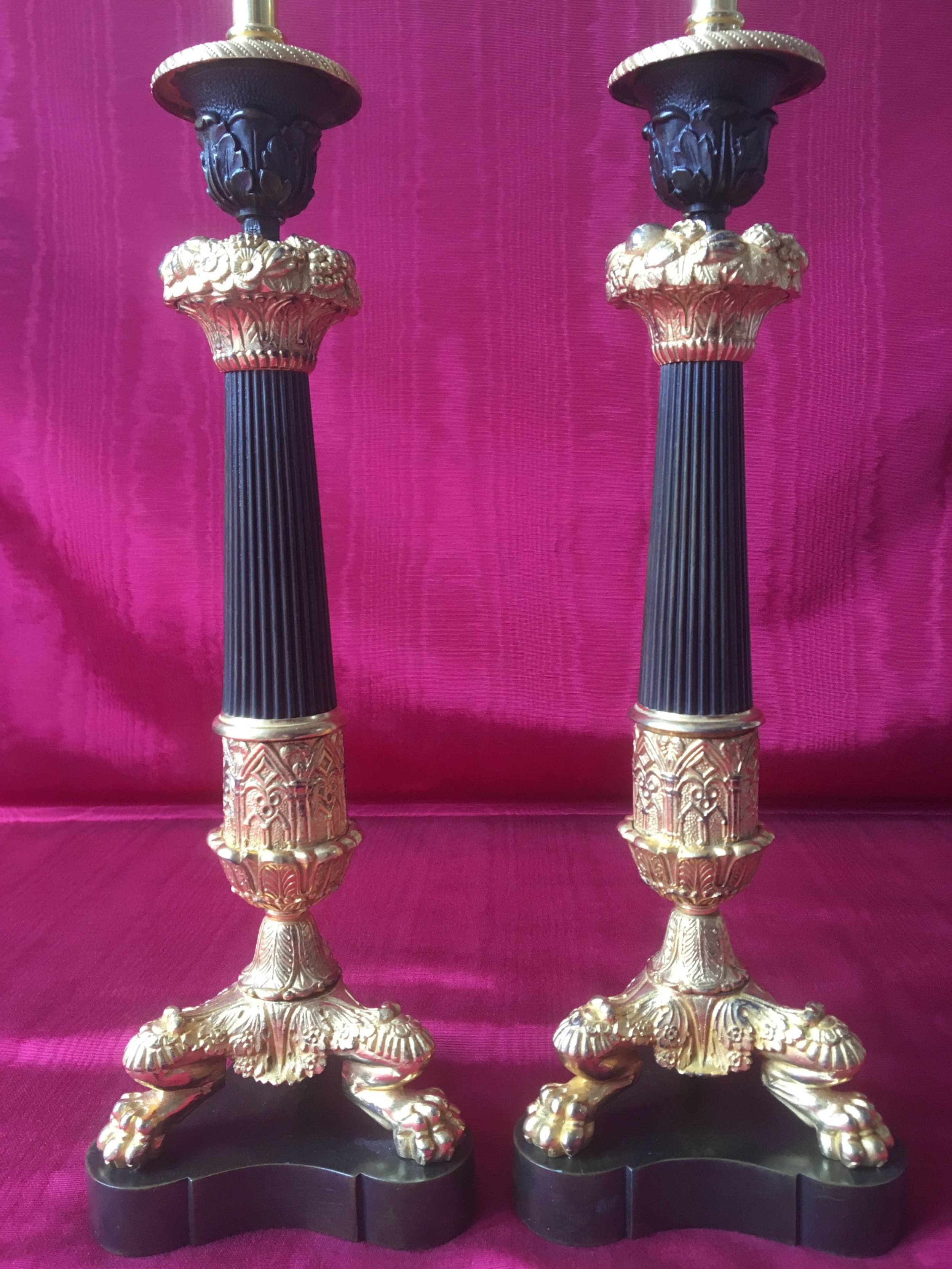 pair of large bronze and ormolu triform candlestick lamps