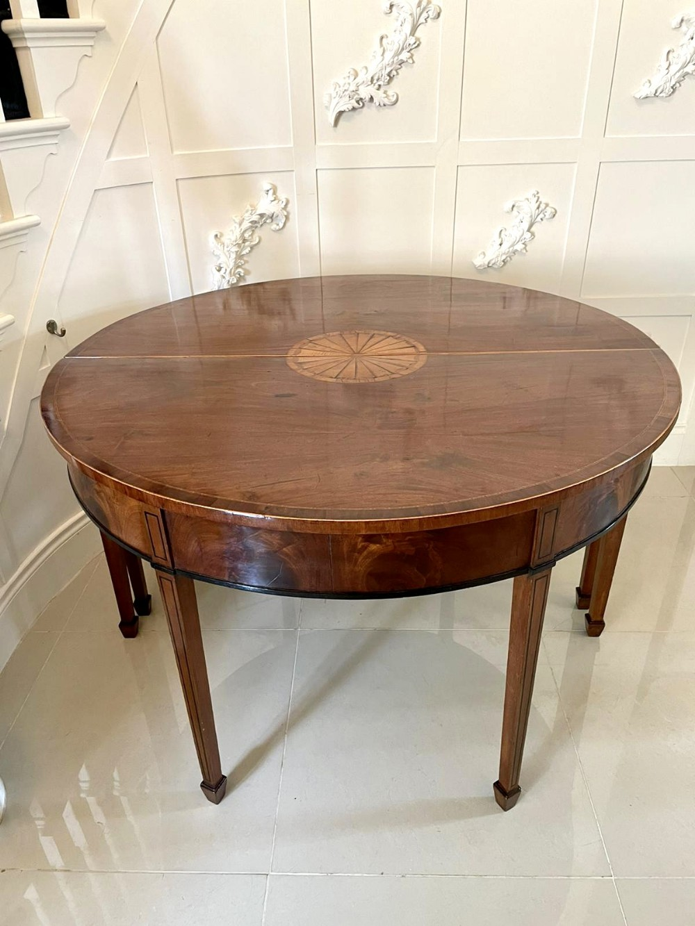 fine pair of george iii inlaid mahogany demilune console tables
