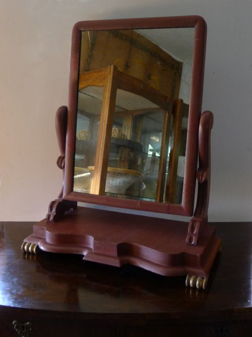 19th century painted and gilded toilet mirror