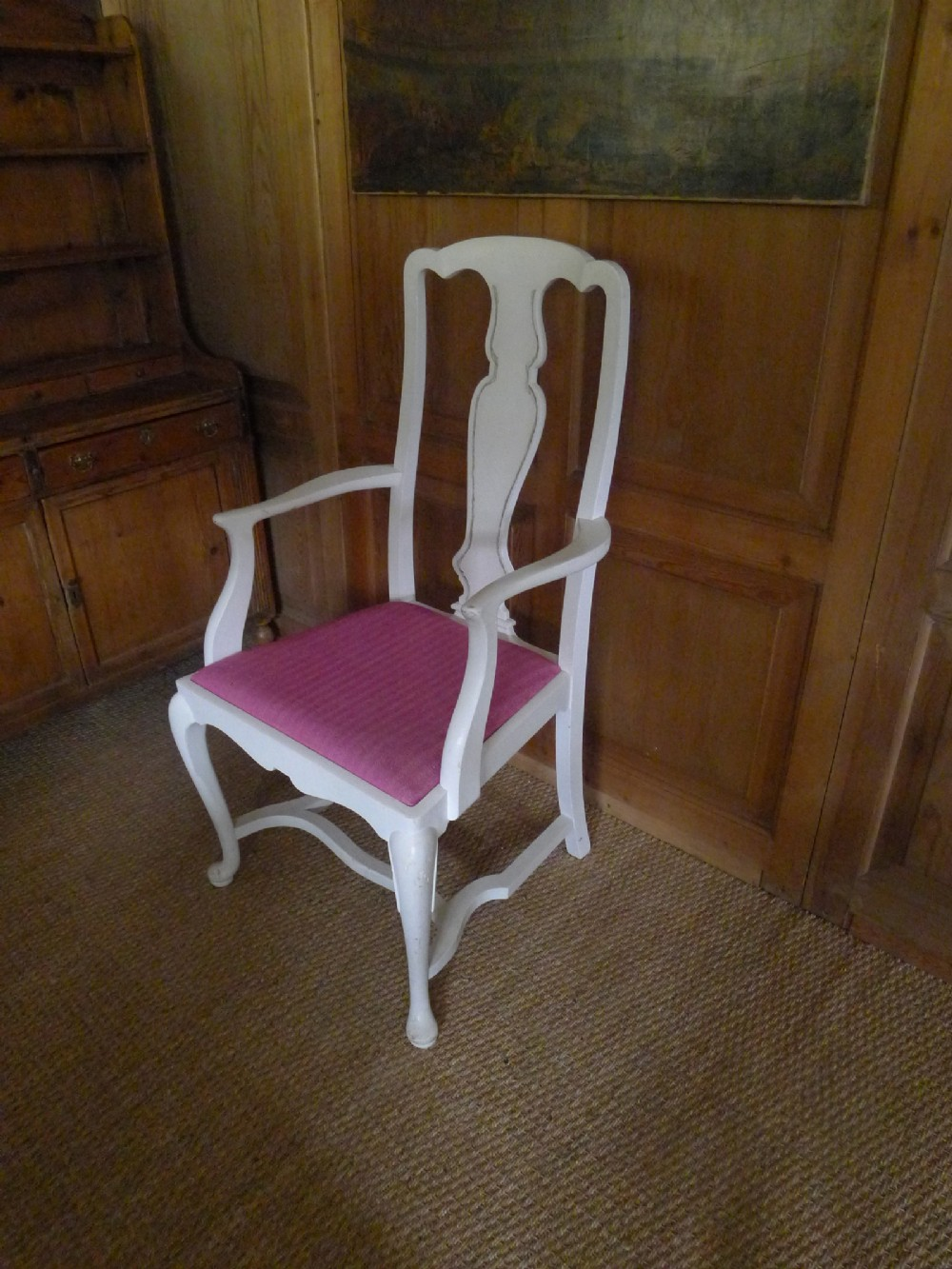 large painted edwardian queen anne style mahogany elbow chair