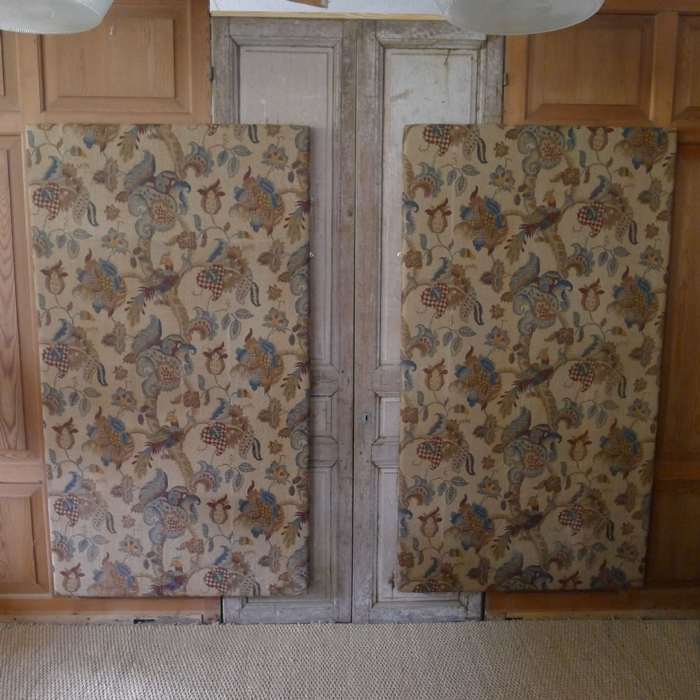 pair of large vintage linen wall panelsbedhead