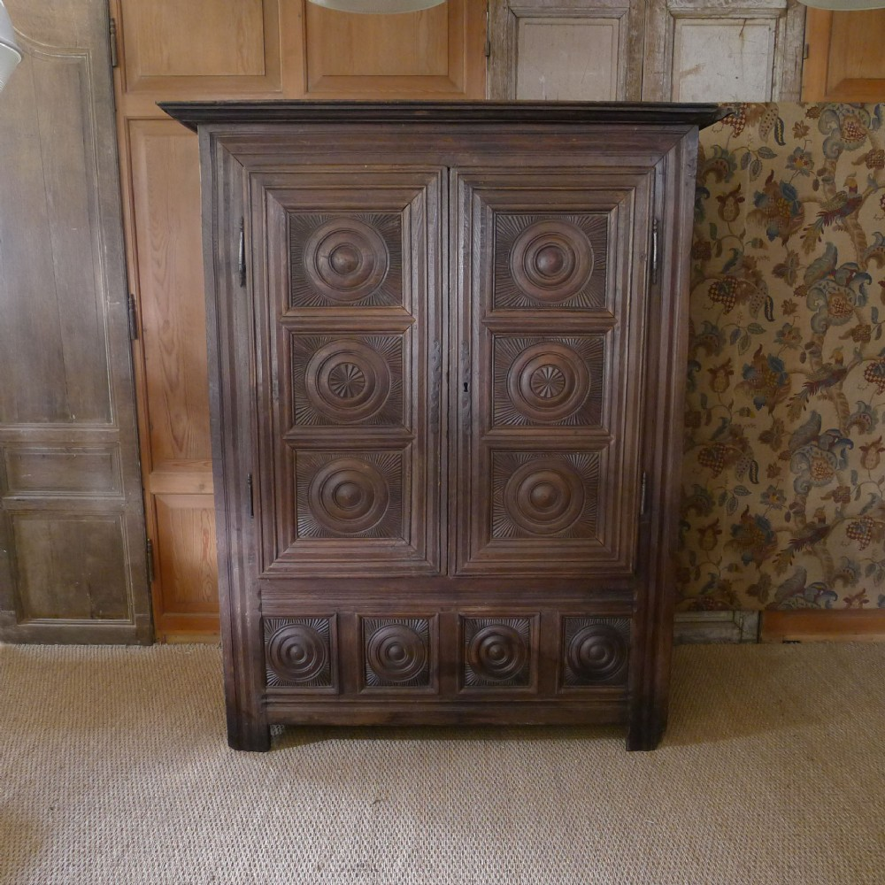 18th century carved oak french wardrobe armoire