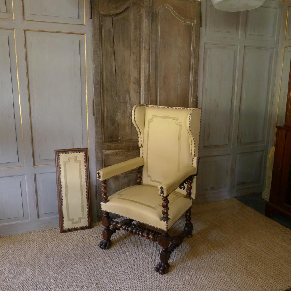 louis xiii oak and walnut reclining wing armchair