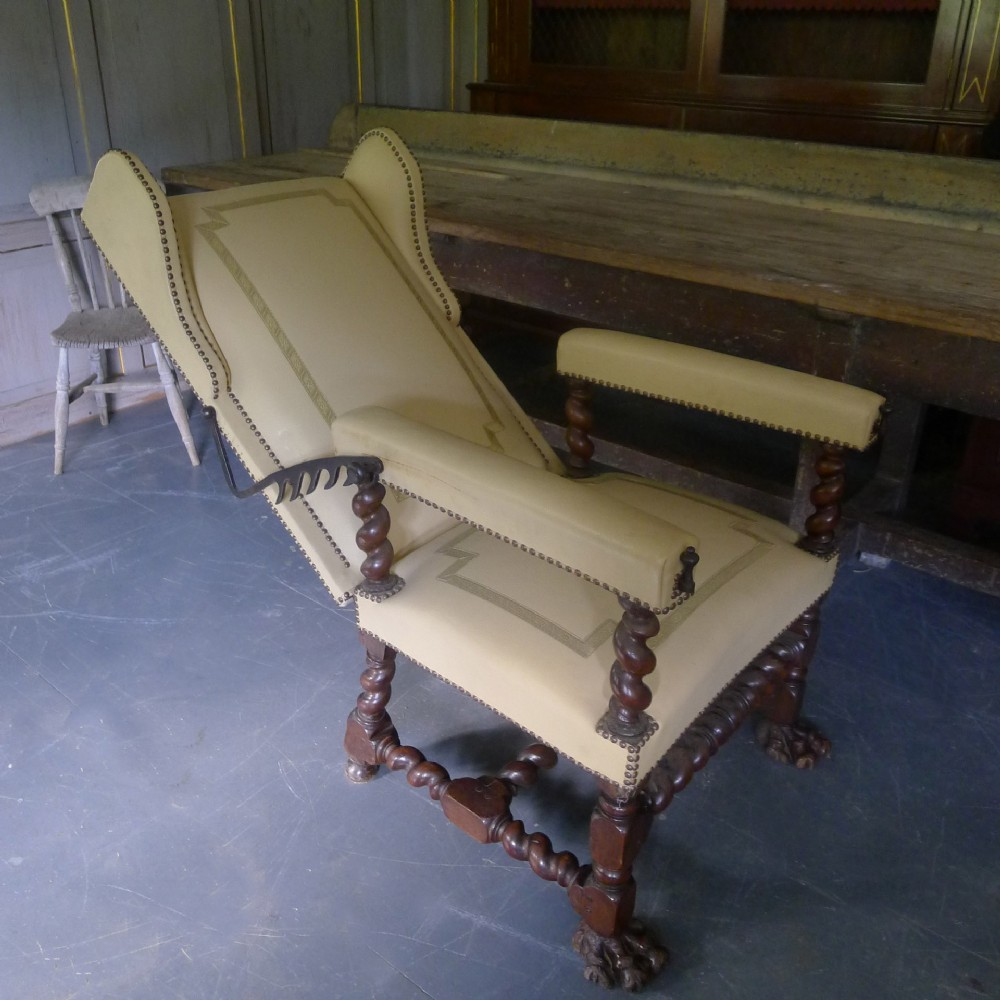 substantial 18th c reclining leather armchair