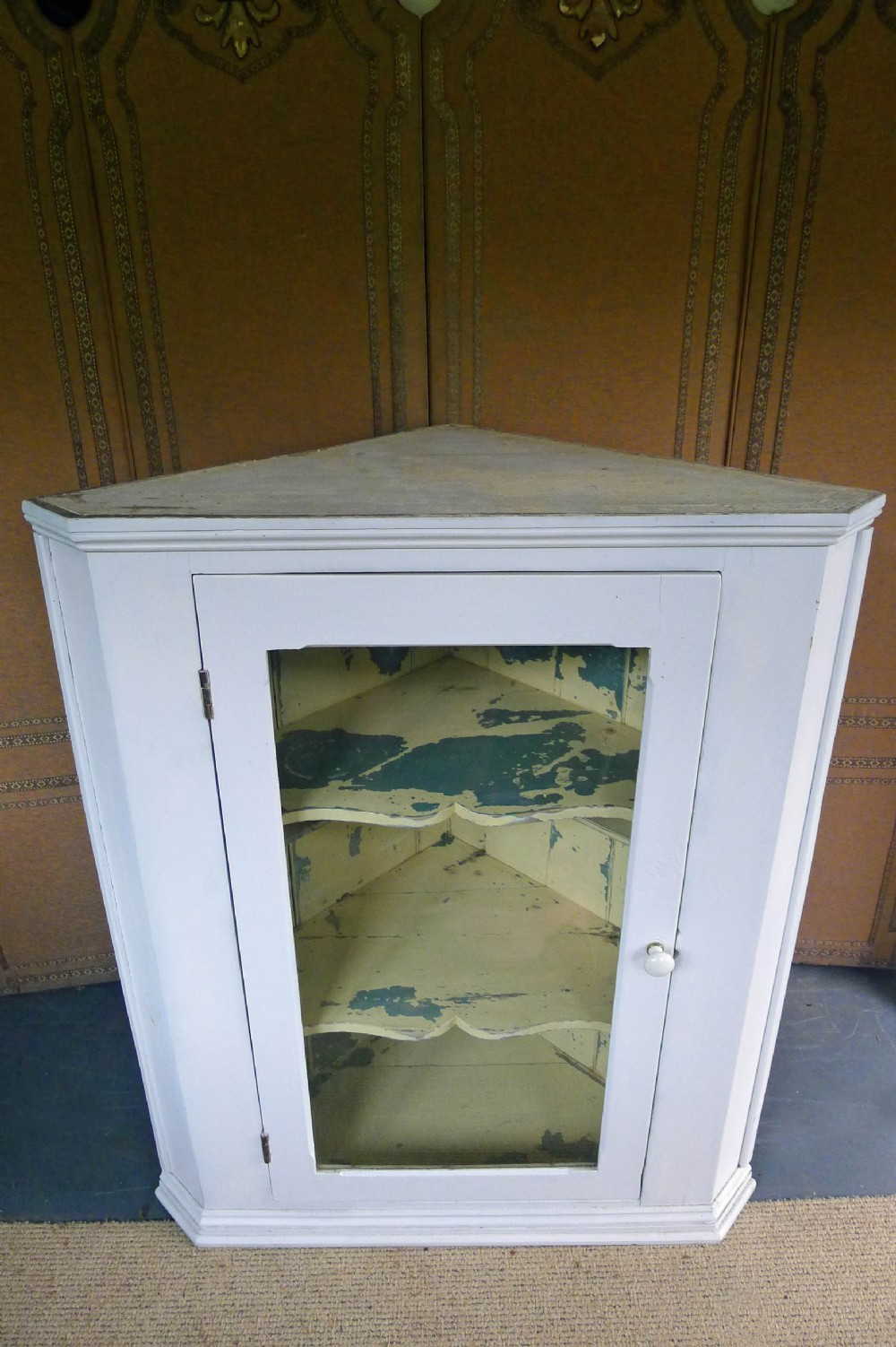 large early 19th century wall hanging glazed painted corner cabinet