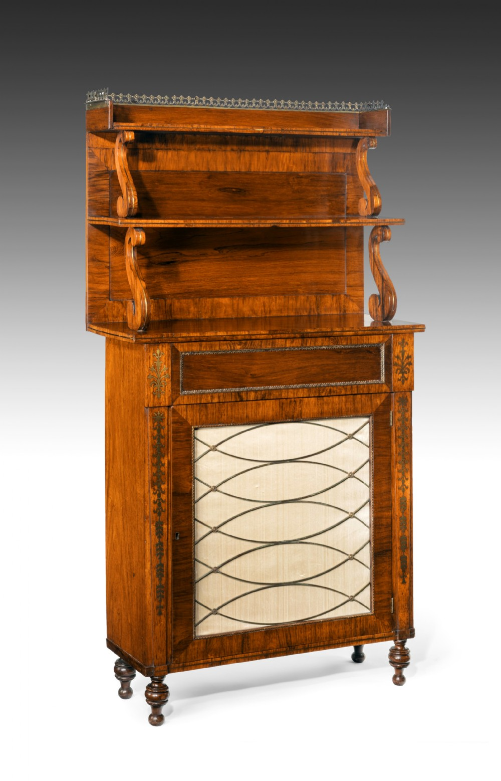 fine regency brass inlaid rosewood chiffonier of narrow proportions