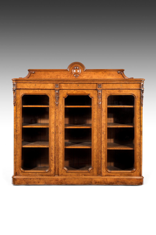 large 19th century victorian pollard oak three door bookcase