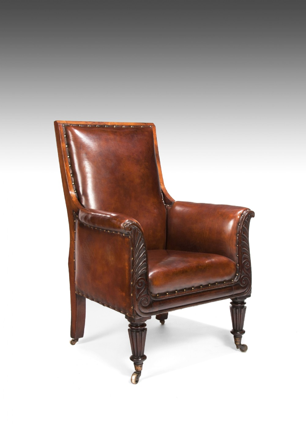 fine late regency mahogany armchair of neoclassical design with leather upholstery