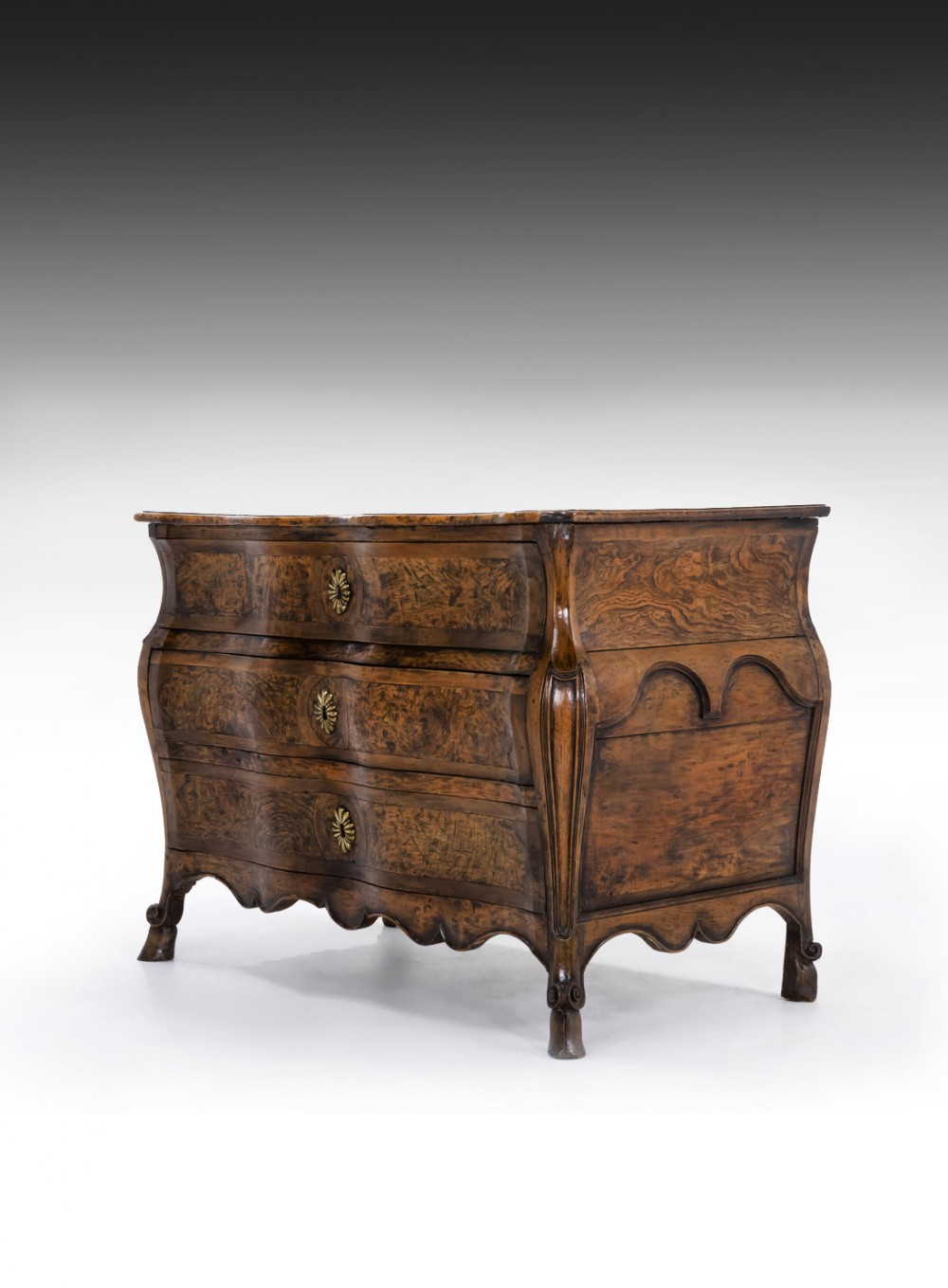 rare burr elm 18th century french louis xv bombe shaped commode