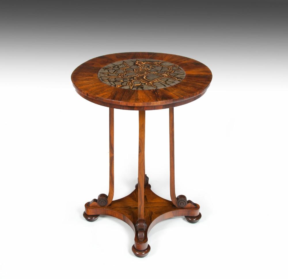 rare 19th century william iv turtle stone marble top specimen table