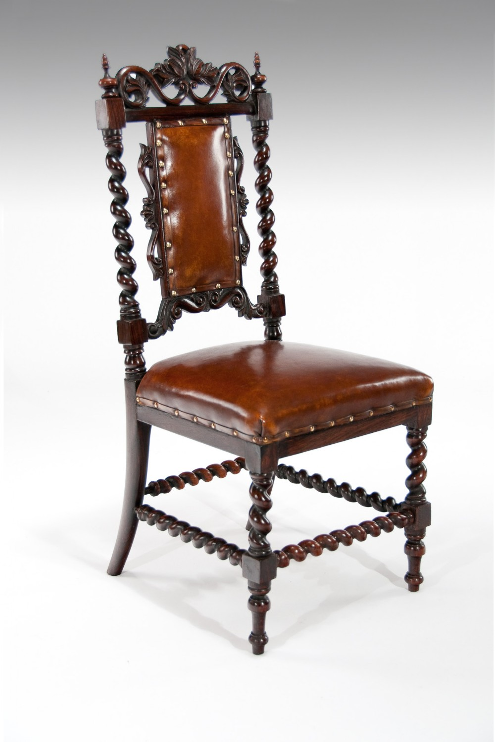 good quality 19th century rosewood leather side chair