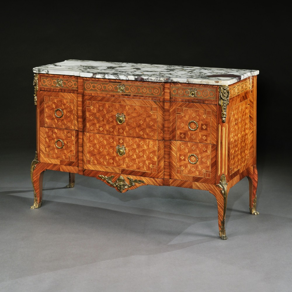 late 19th c french gilt bronze mounted tulipwood and kingwood marble topped commode