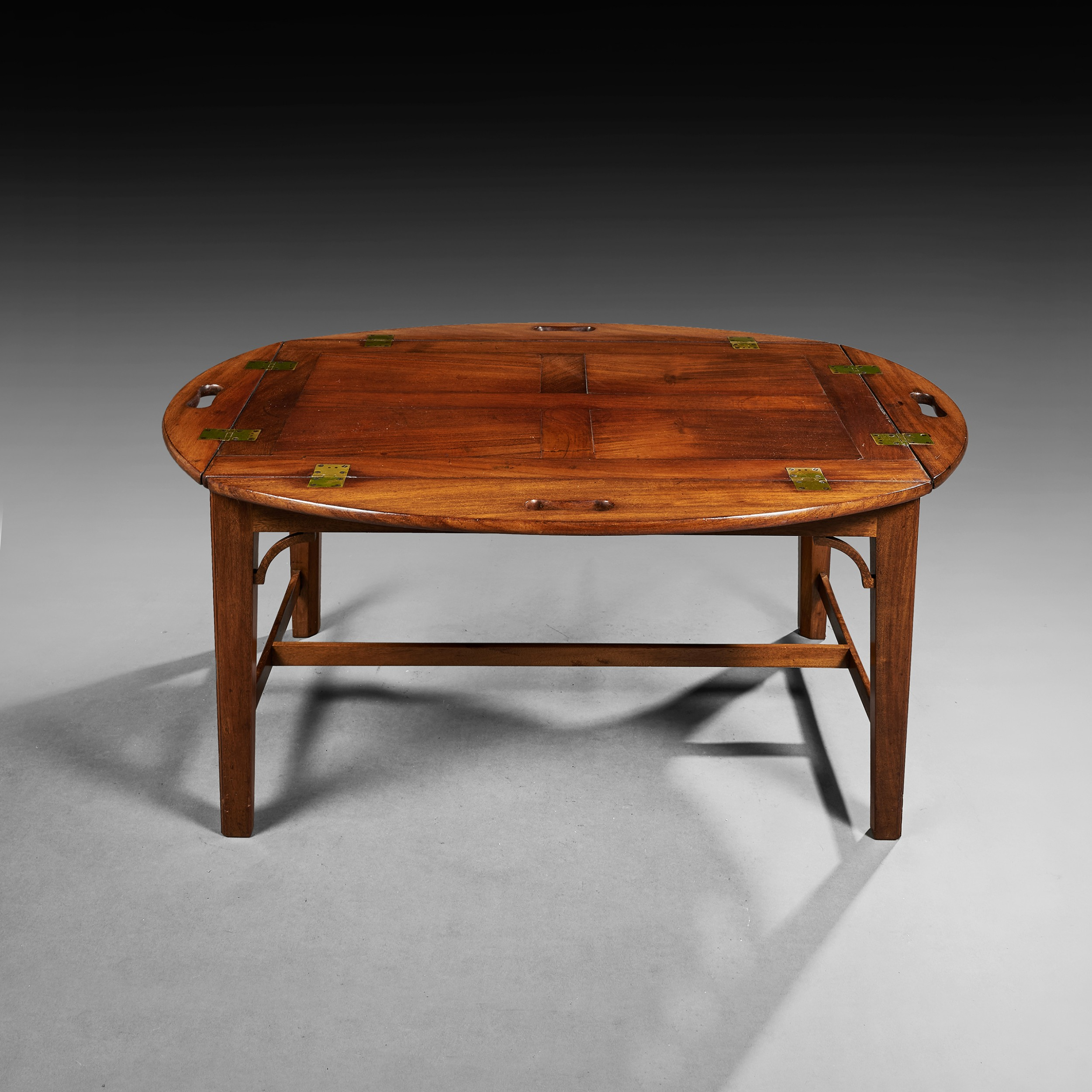 fine regency period hinged butlers tray on stand