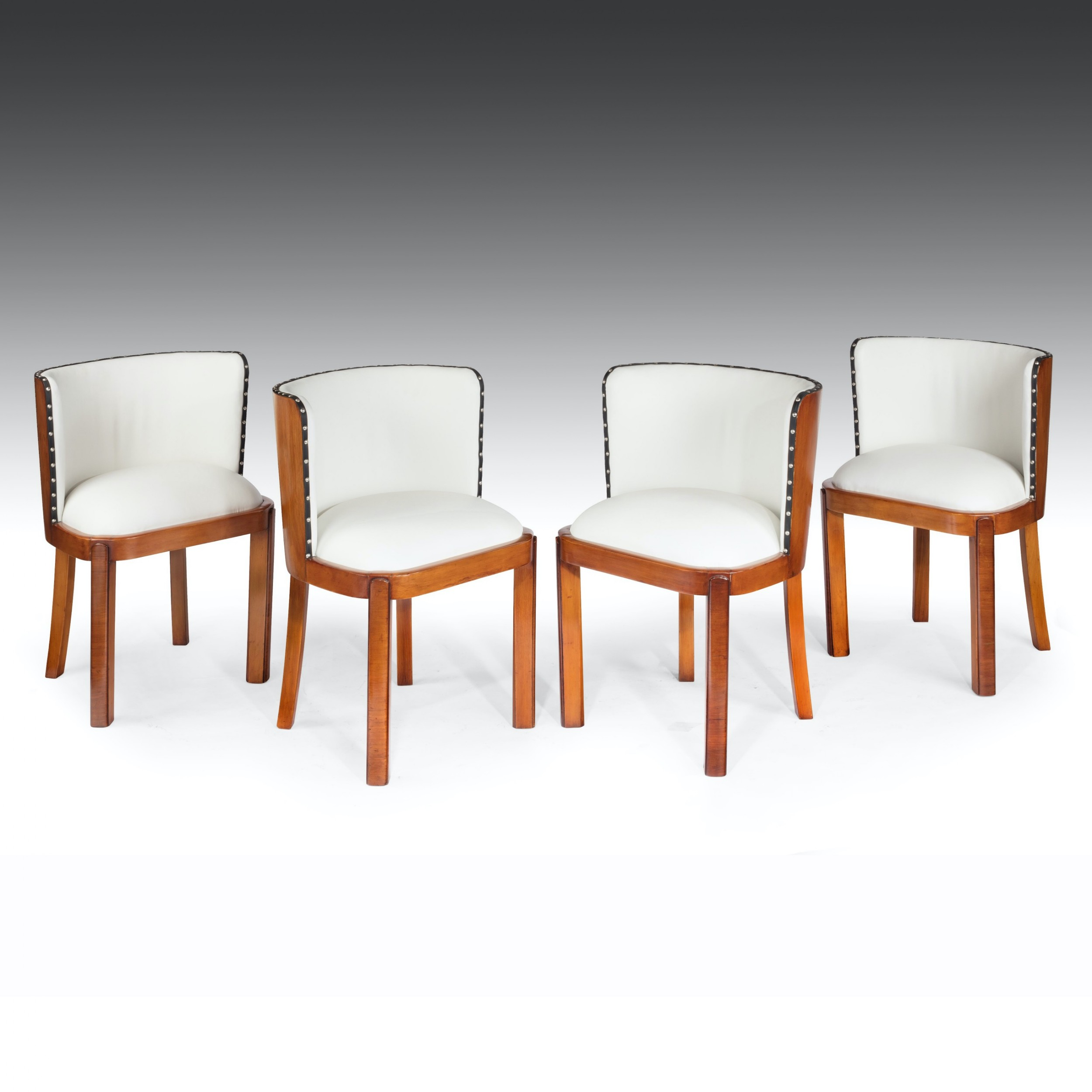set of four walnut art deco white leather upholstered dining chairs