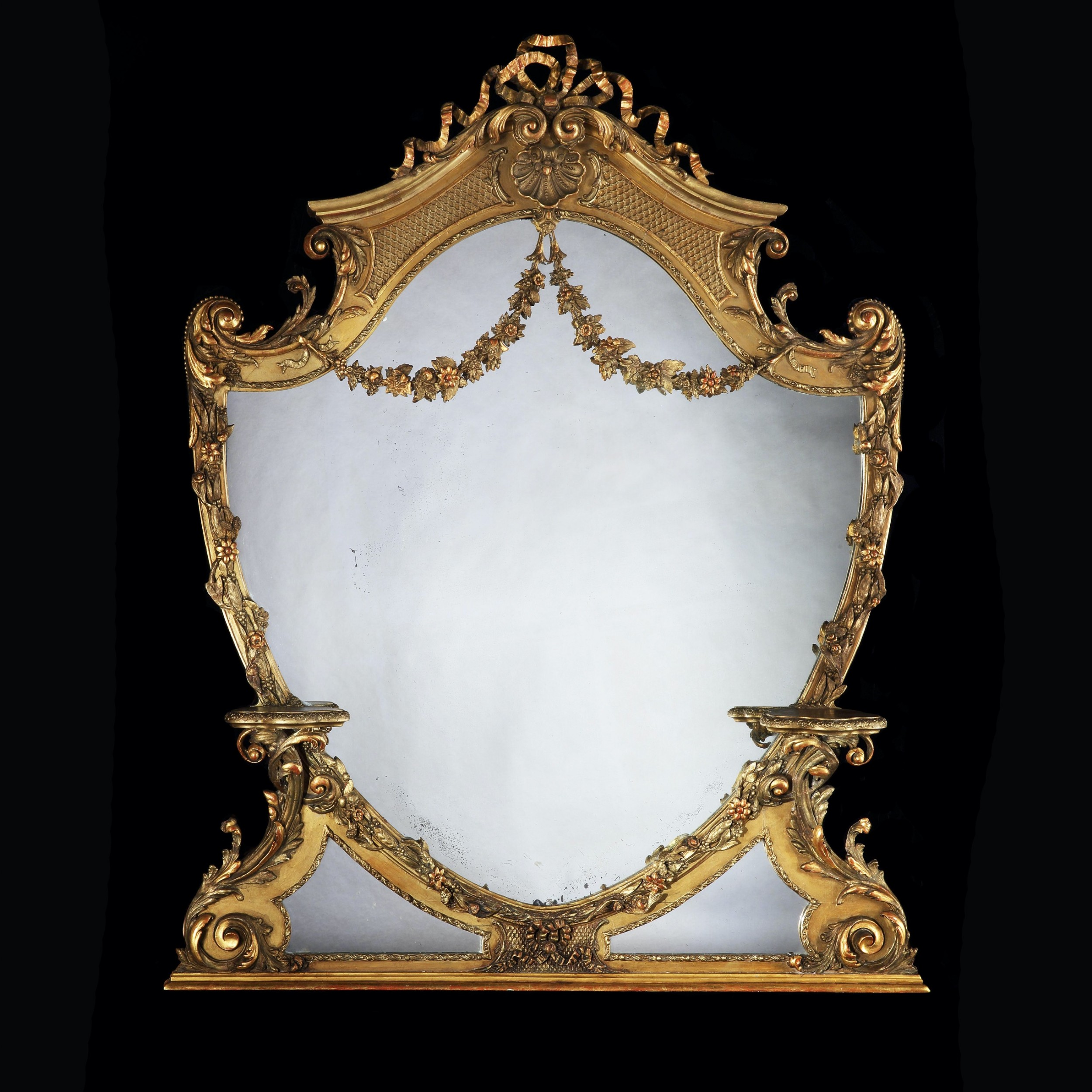 large 19th century victorian giltwood and gesso overmantel mirror of cartouche shaped form